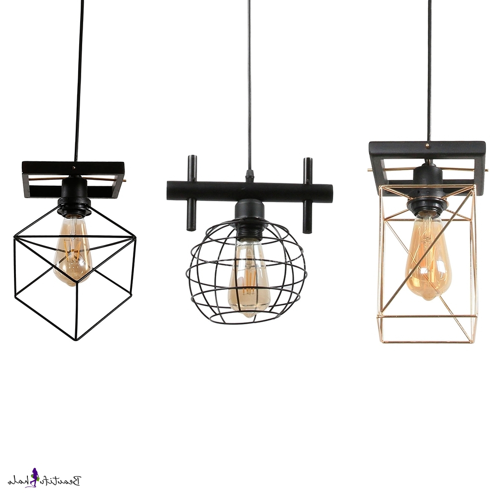 4 Light Lantern Square / Rectangle Pendants Intended For Widely Used Metal Globe/rectangle/square Pendant Light One Light Industrial Hanging  Lamp In Black Finish For Bar (Gallery 23 of 25)