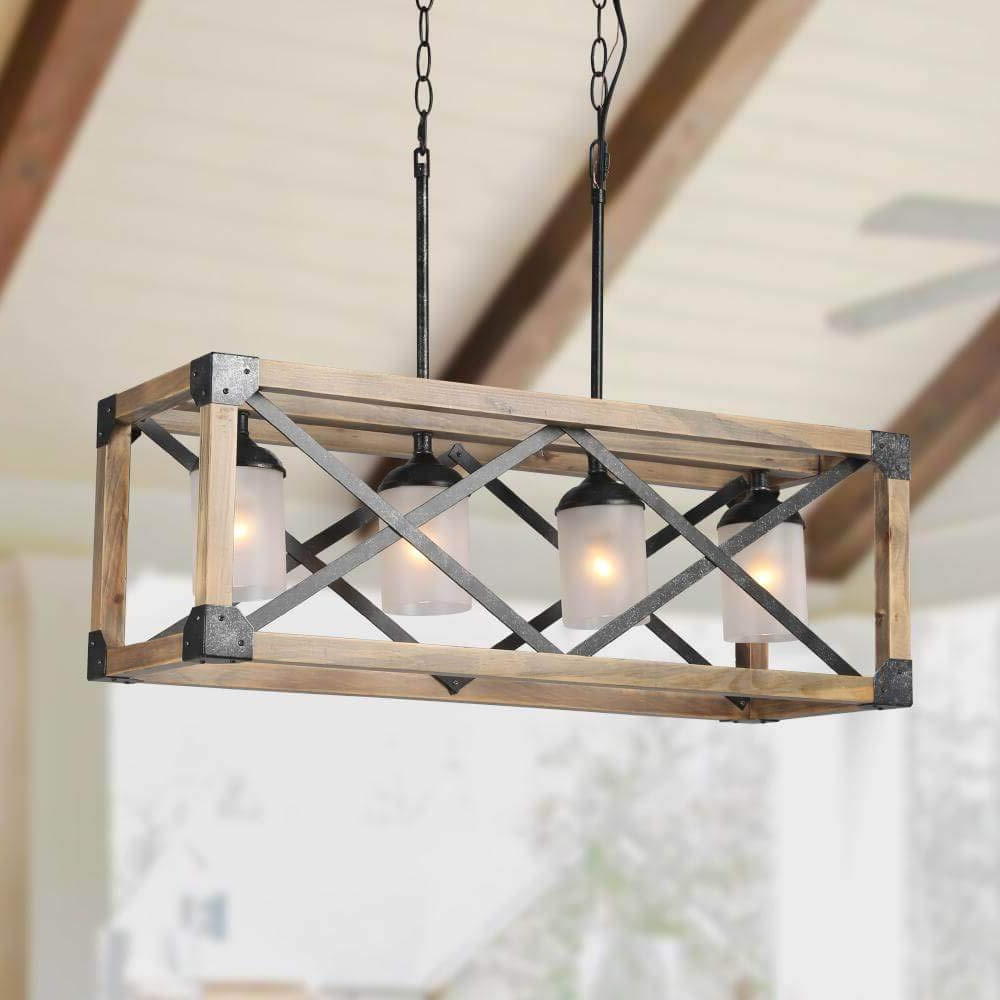 4 Light Lantern Square / Rectangle Pendants Throughout Preferred Laluz Wood Kitchen Island Farmhouse Pendant Lighting Hanging Fixture For  Dining Room, 4 Glass Globes, A (View 6 of 25)