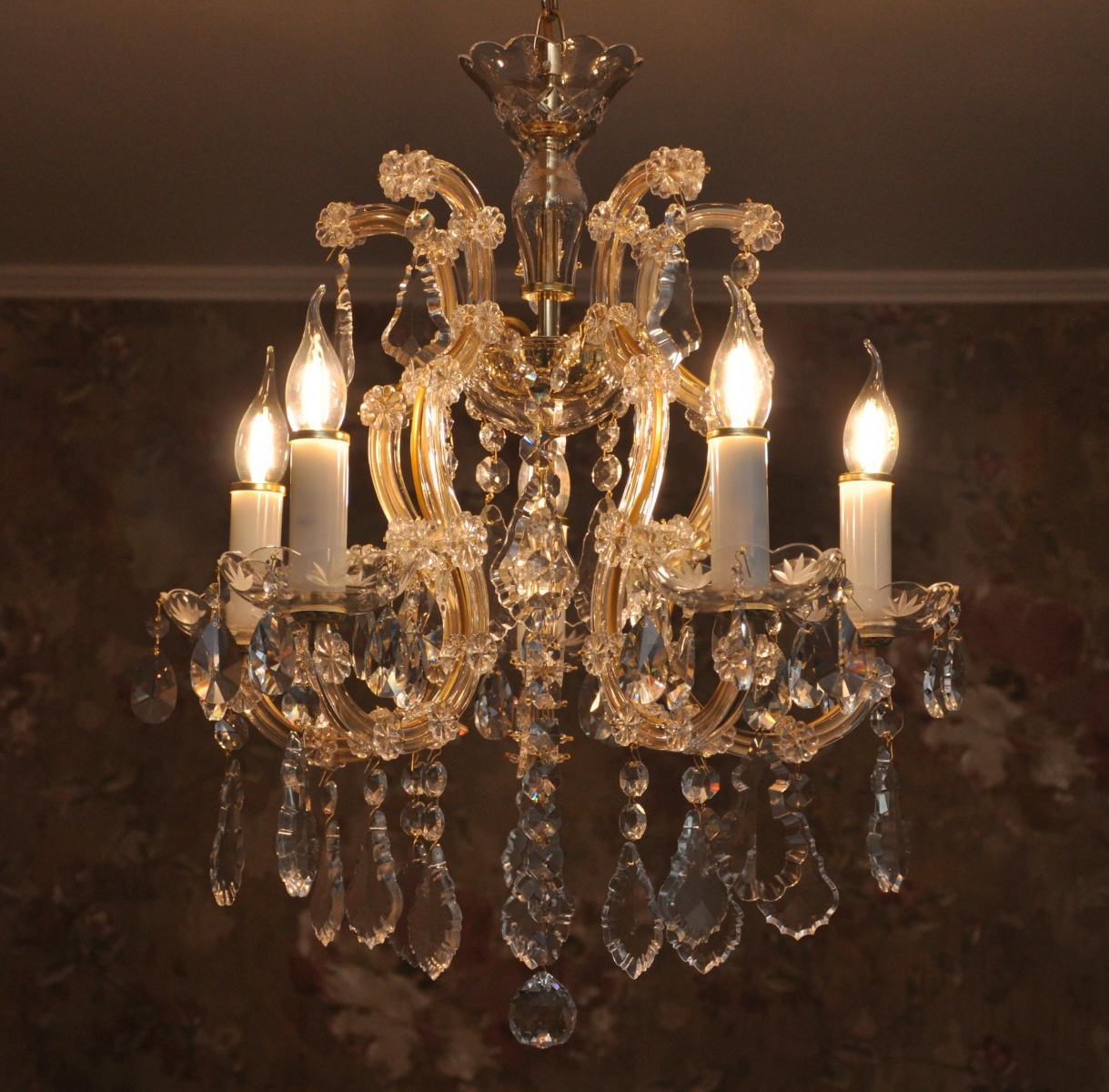 5 Flames Maria Theresa Crystal Chandelier With Pendeloques & Decorated  Bobeches Inside Fashionable Thresa 5 Light Shaded Chandeliers (View 12 of 25)