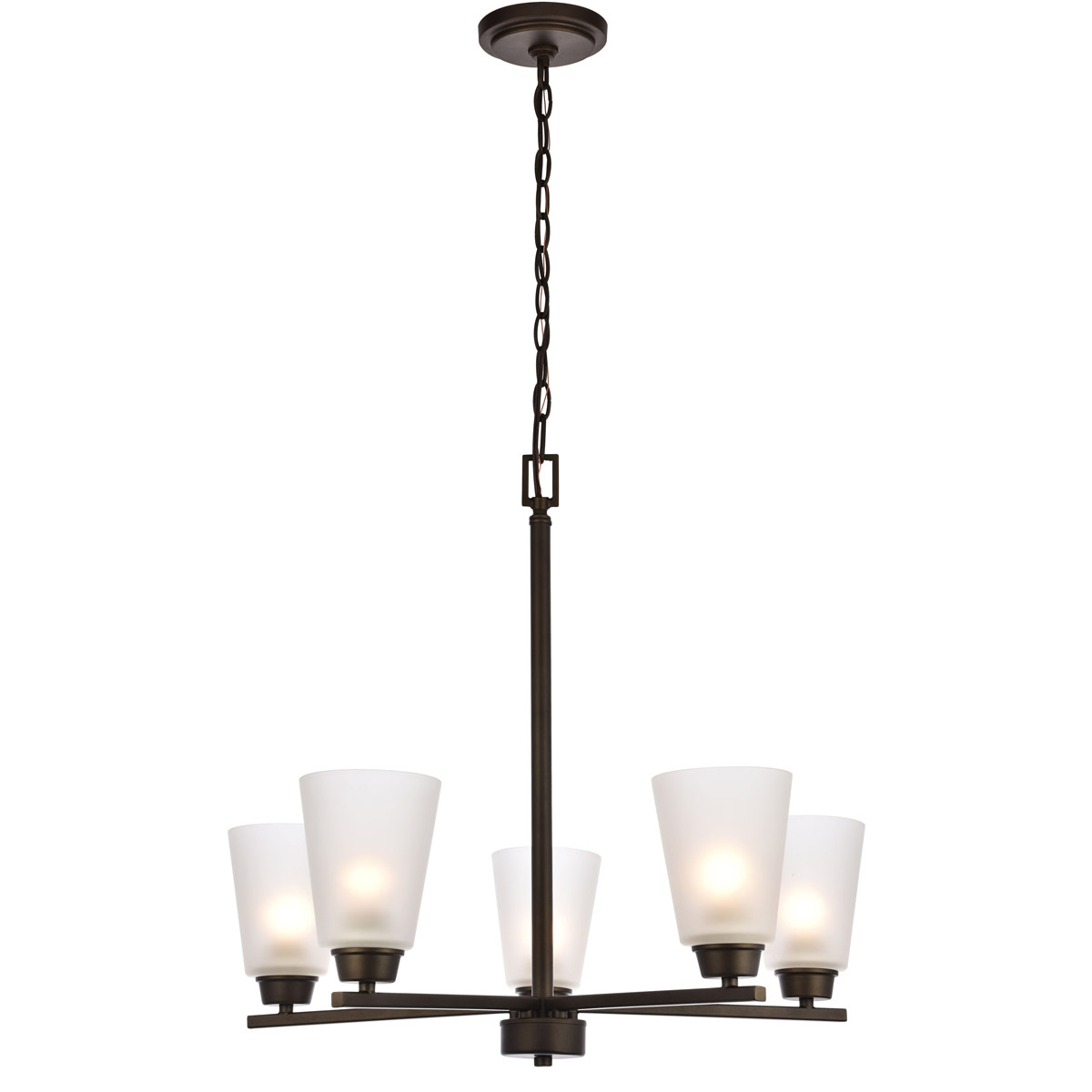 """5 Light 24"""" Glass Shades Oil Rubbed Bronze Dining Living Regarding Preferred Thresa 5 Light Shaded Chandeliers (View 22 of 25)"""