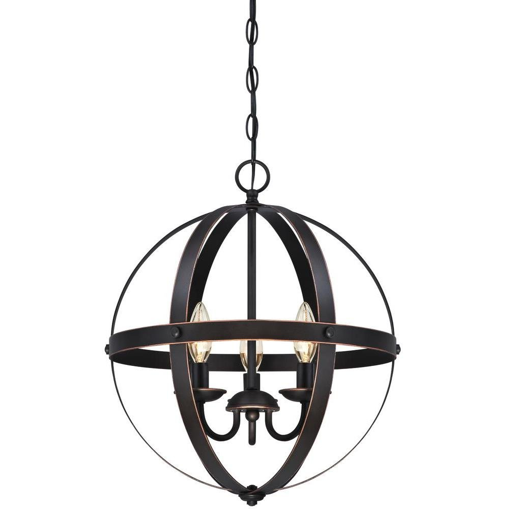 Adcock 3 Light Single Globe Pendants Pertaining To Best And Newest La Barge 3 Light Globe Chandelier (View 4 of 25)