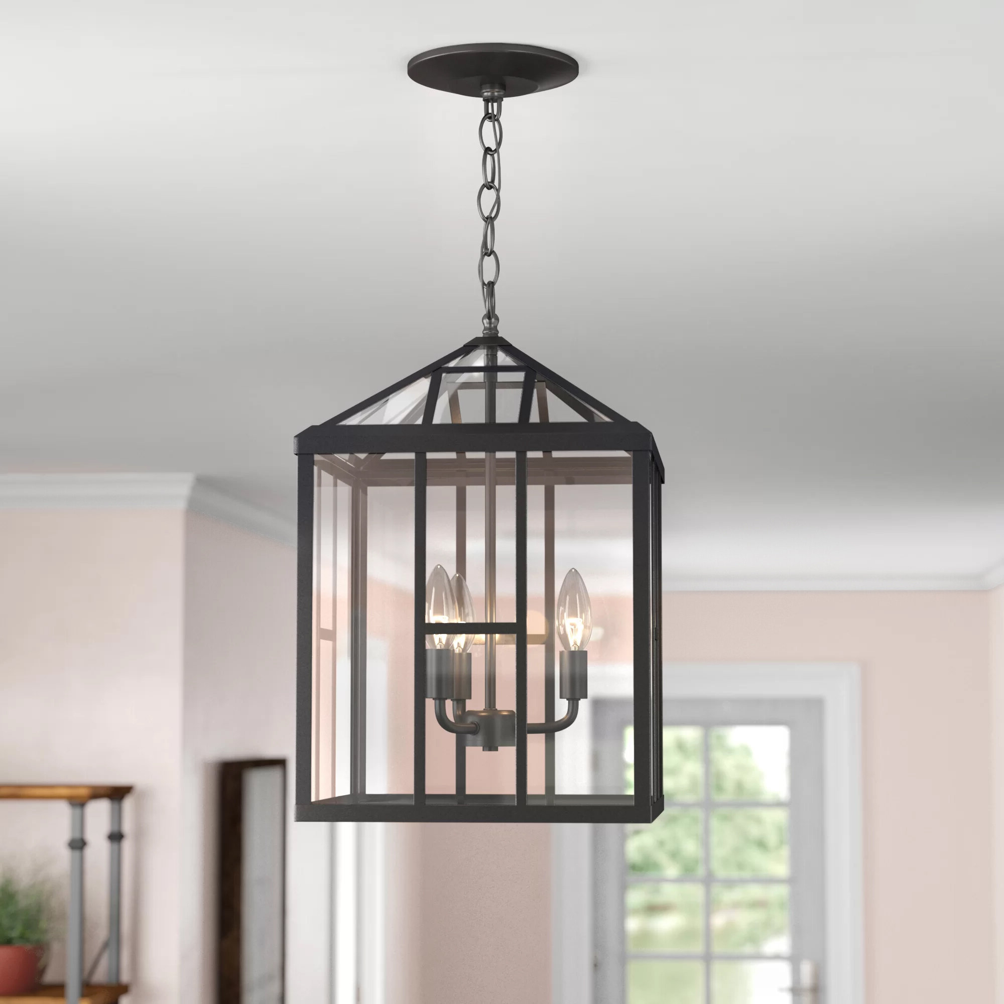 Adelaida 3 Light Lantern Geometric Pendant Regarding 2019 Sherri Ann 3 Light Lantern Square / Rectangle Pendants (View 8 of 25)