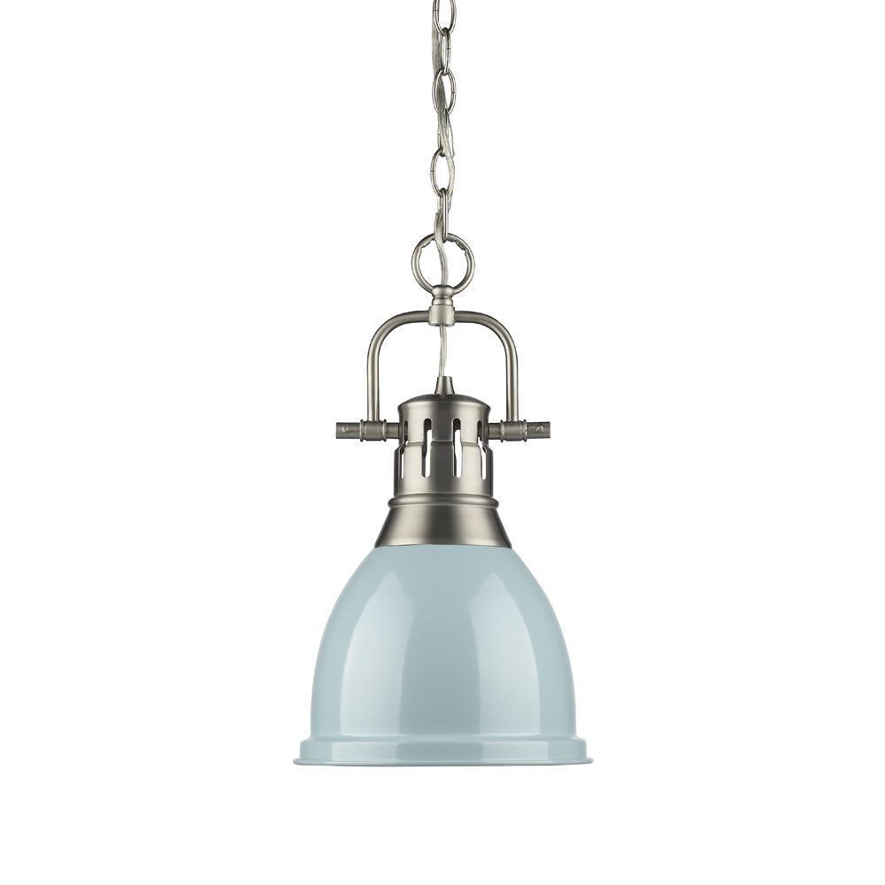 Adriana Black 1 Light Single Dome Pendants Throughout Well Liked Golden Lighting Duncan Seafoam Pewter Small Pendant With (View 7 of 25)
