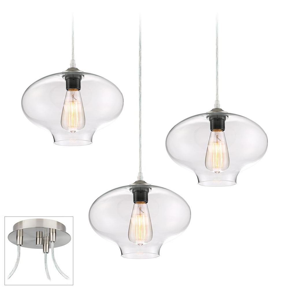Akakios 1 Light Single Bell Pendants Pertaining To Well Known Possini Euro Engels Brushed Nickel 3 Light Swag Pendant (View 7 of 25)