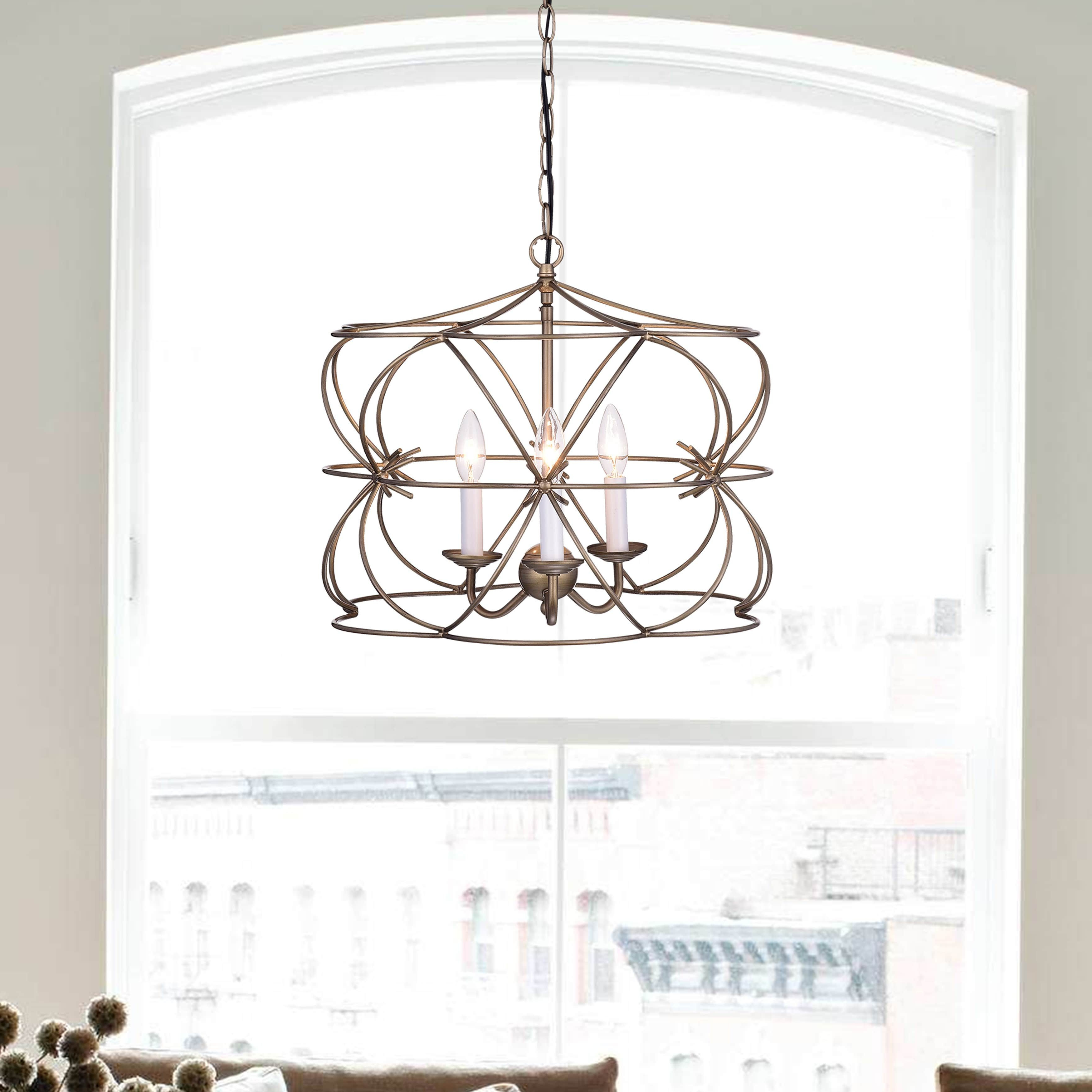 Alden 6 Light Globe Chandeliers Inside Latest Joshua Antique Copper 3 Light Iron Stem Cage Chandelier In (View 17 of 25)