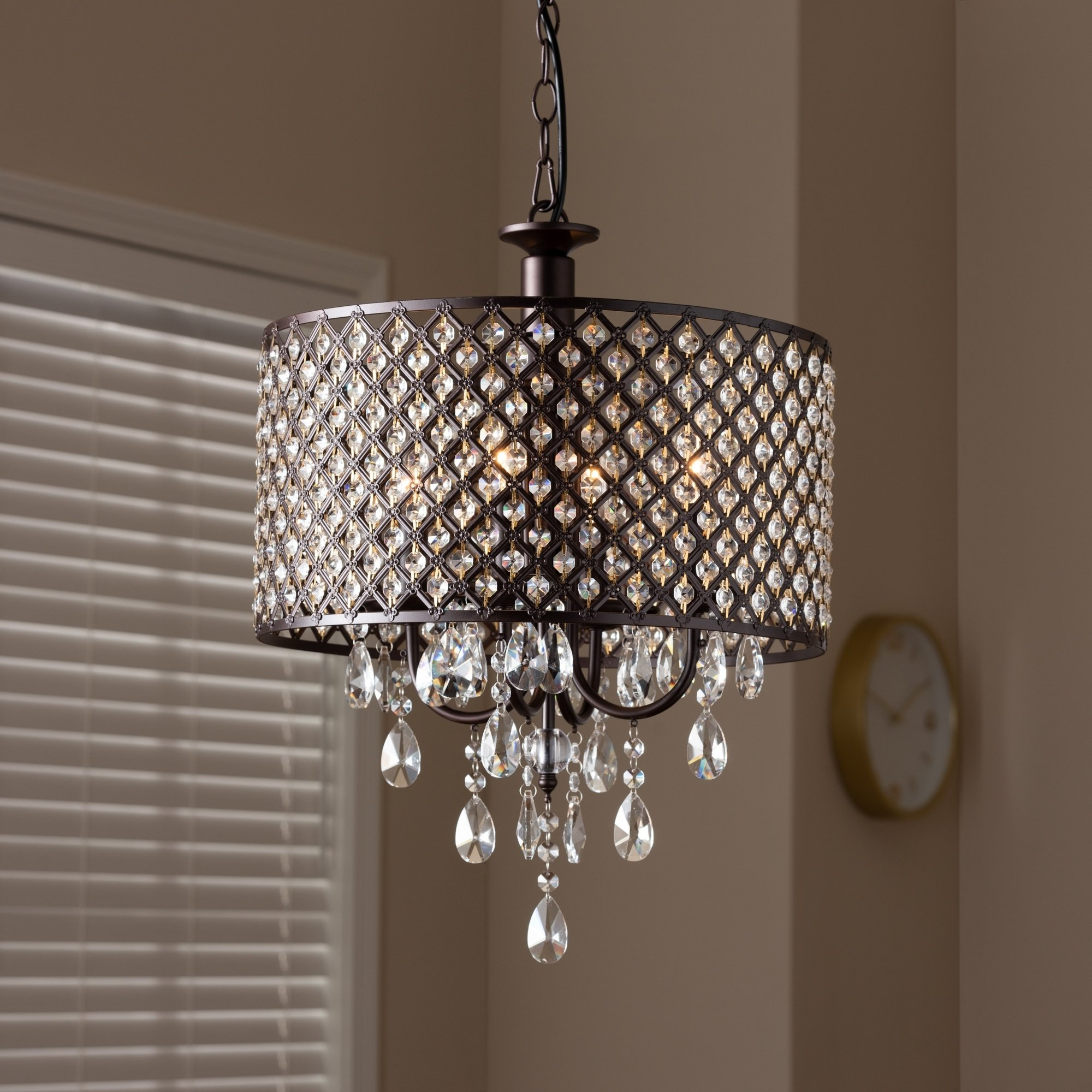 Aldgate 4 Light Crystal Chandeliers Throughout Popular Contemporary Dark Bronze 4 Light Drum Pendant Light (View 5 of 25)