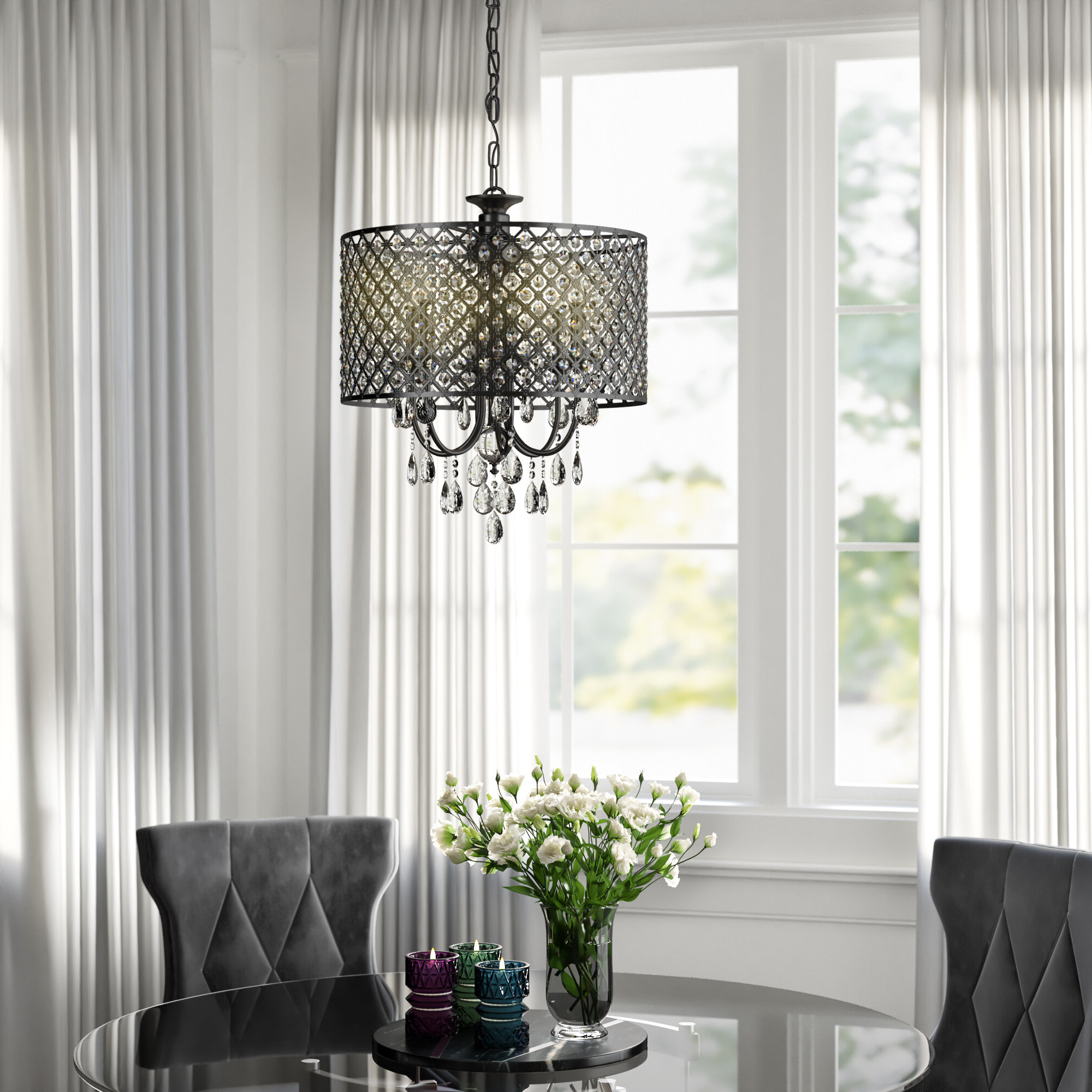 Aldgate 4 Light Crystal Chandeliers Within Newest Mckamey 4 Light Crystal Chandelier (View 11 of 25)