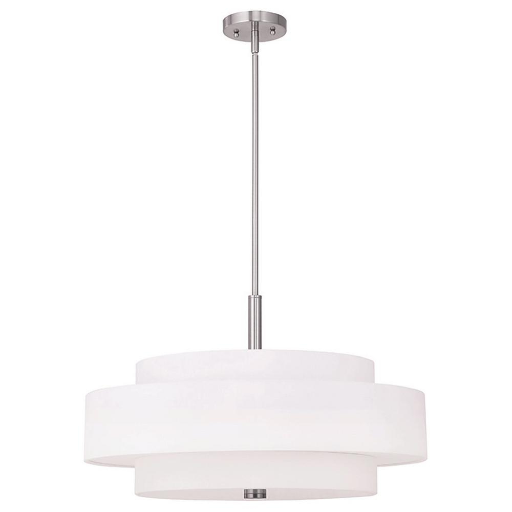 Alina 5 Light Drum Chandeliers For Most Current Livex Lighting Meridian 5 Light Brushed Nickel Pendant (View 24 of 25)