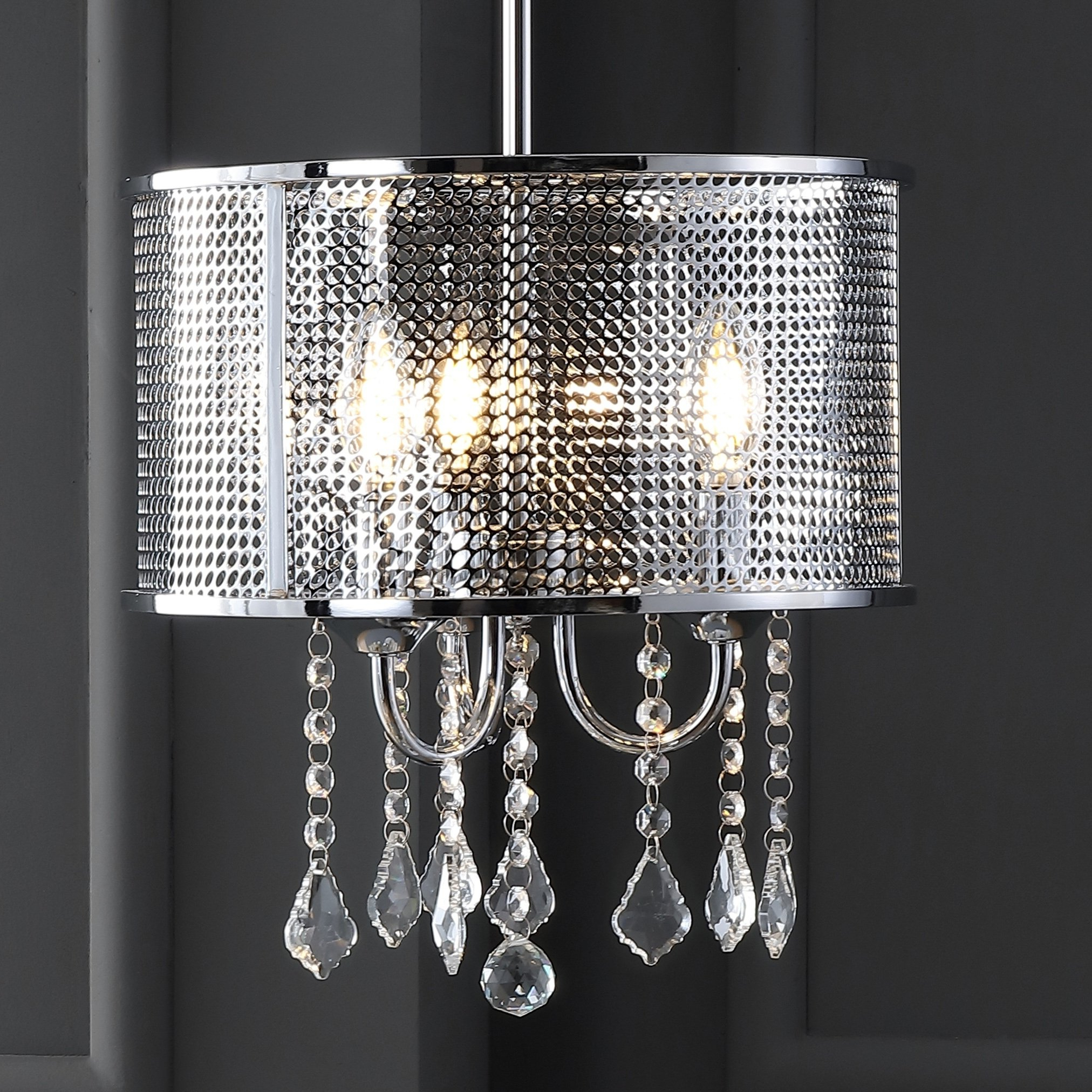 "Alverez 4 Light Drum Chandeliers In Fashionable Avah 13"" Metal/crystal Adjustable Led Drop Pendant, Chrome (View 4 of 25)"