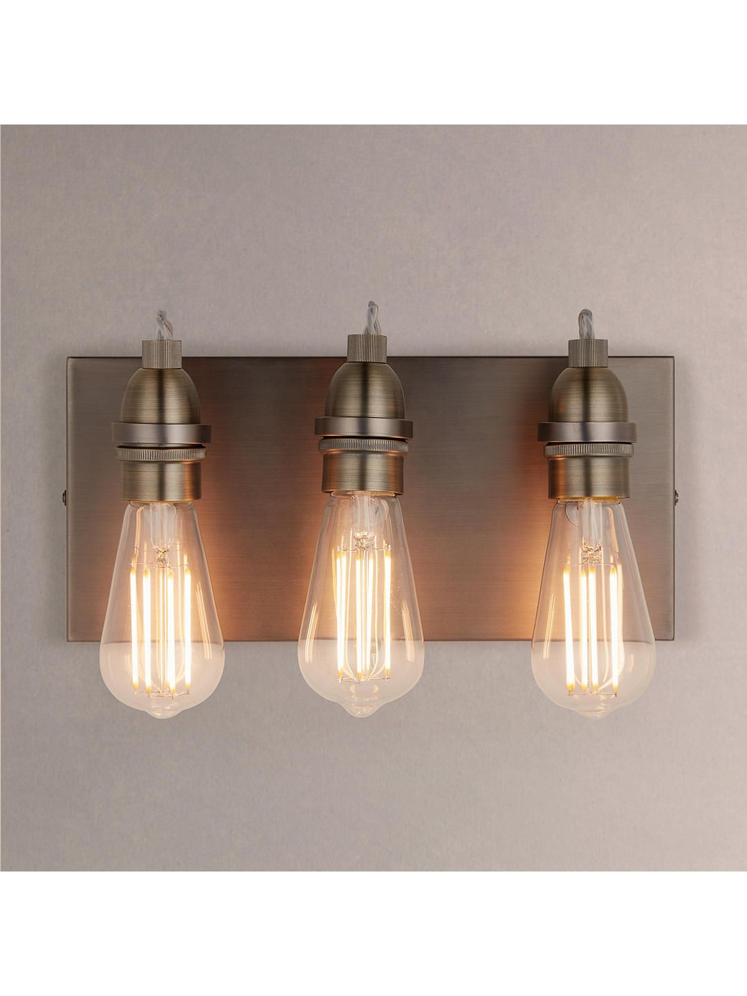 Amara 3 Light Dome Pendants For Popular John Lewis & Partners Bistro 3 Arm Wall Light, Antique Brass (View 5 of 25)