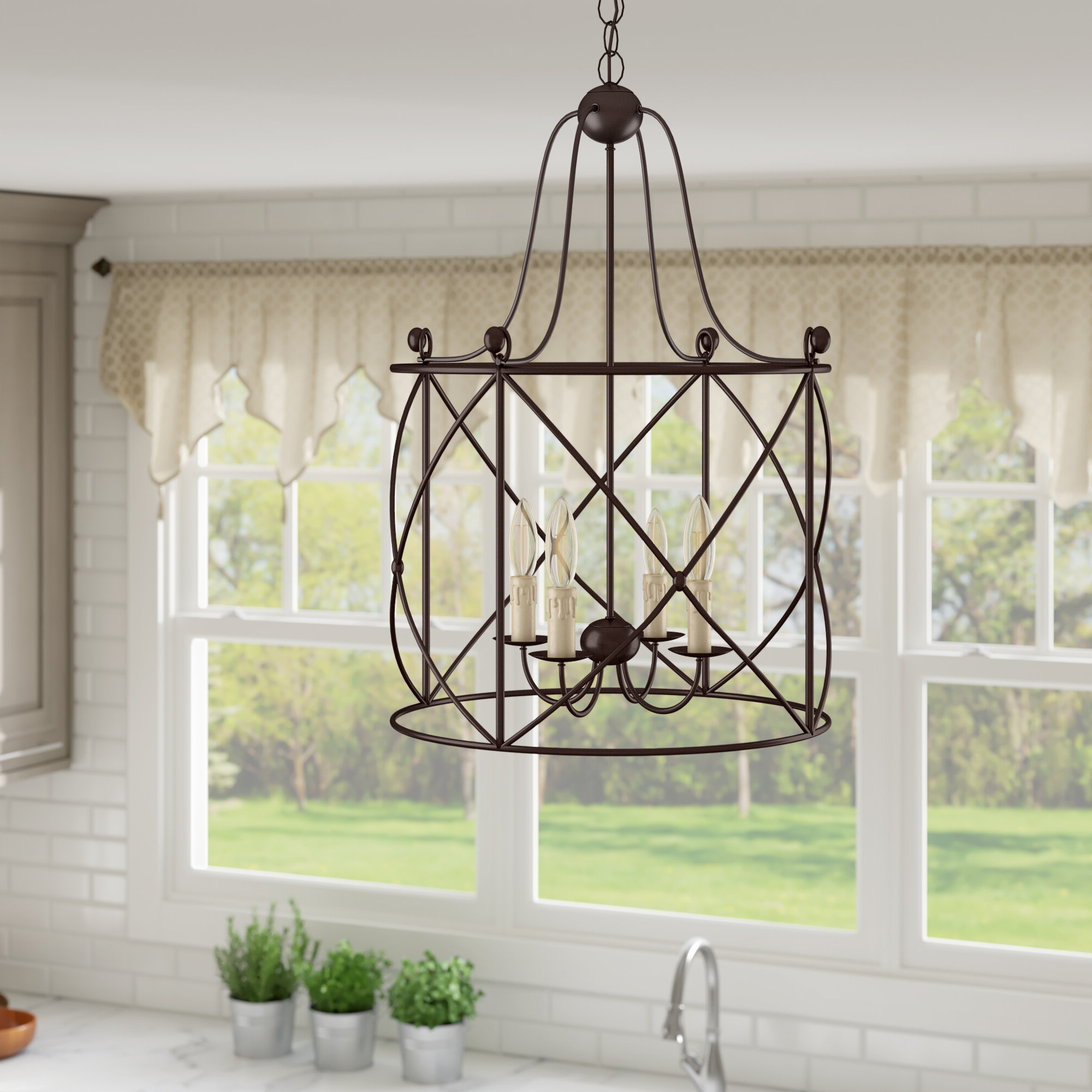 Aniyah 4 Light Lantern Drum Pendant With Regard To Widely Used Nisbet 4 Light Lantern Geometric Pendants (View 6 of 25)