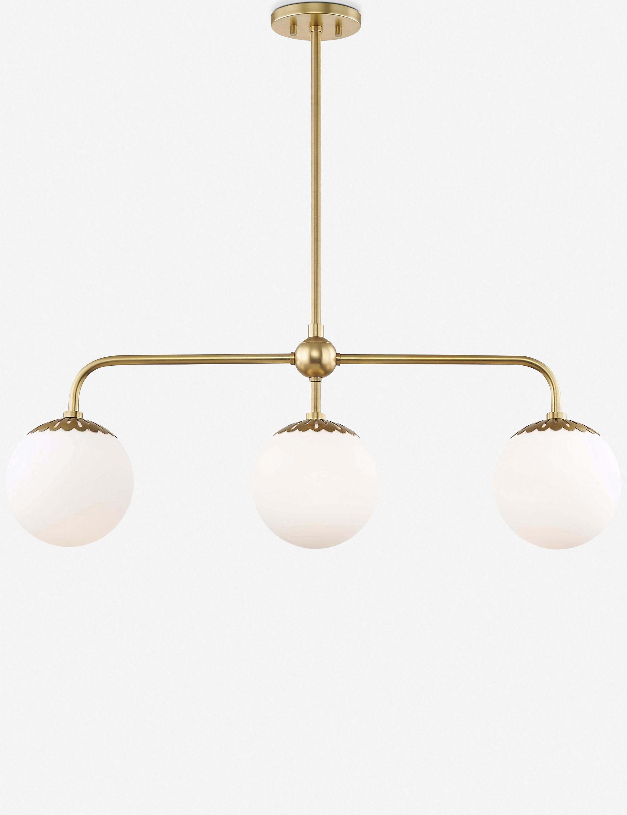 Annetta Linear Chandelier, Aged Brass With Regard To Well Known Novogratz Vintage 5 Light Kitchen Island Bulb Pendants (View 2 of 25)