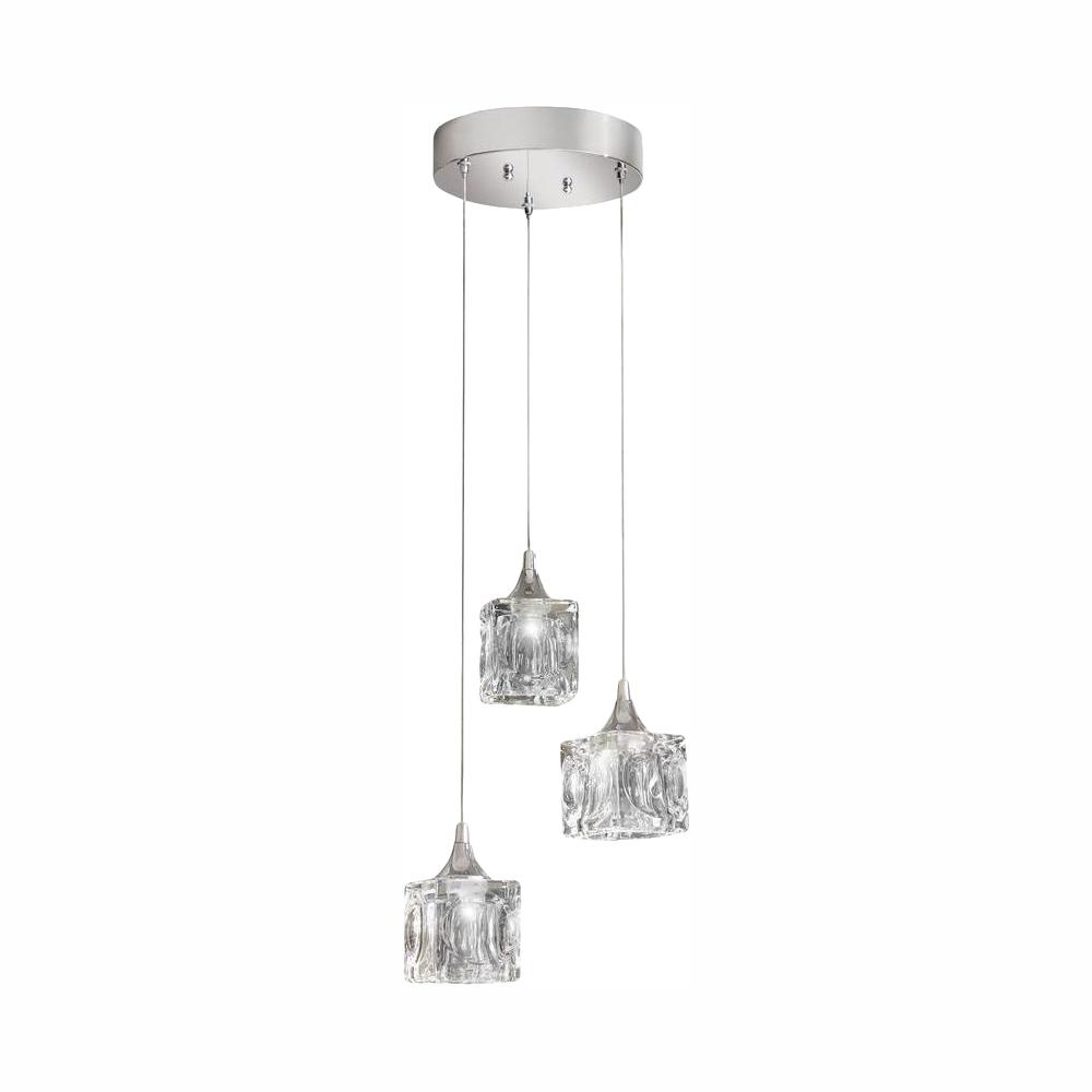Annuziata 3 Light Unique/statement Chandeliers Inside Most Current Home Decorators Collection 3 Light Polished Chrome Integrated Led Pendant  With Clear Cube Glass (View 22 of 25)