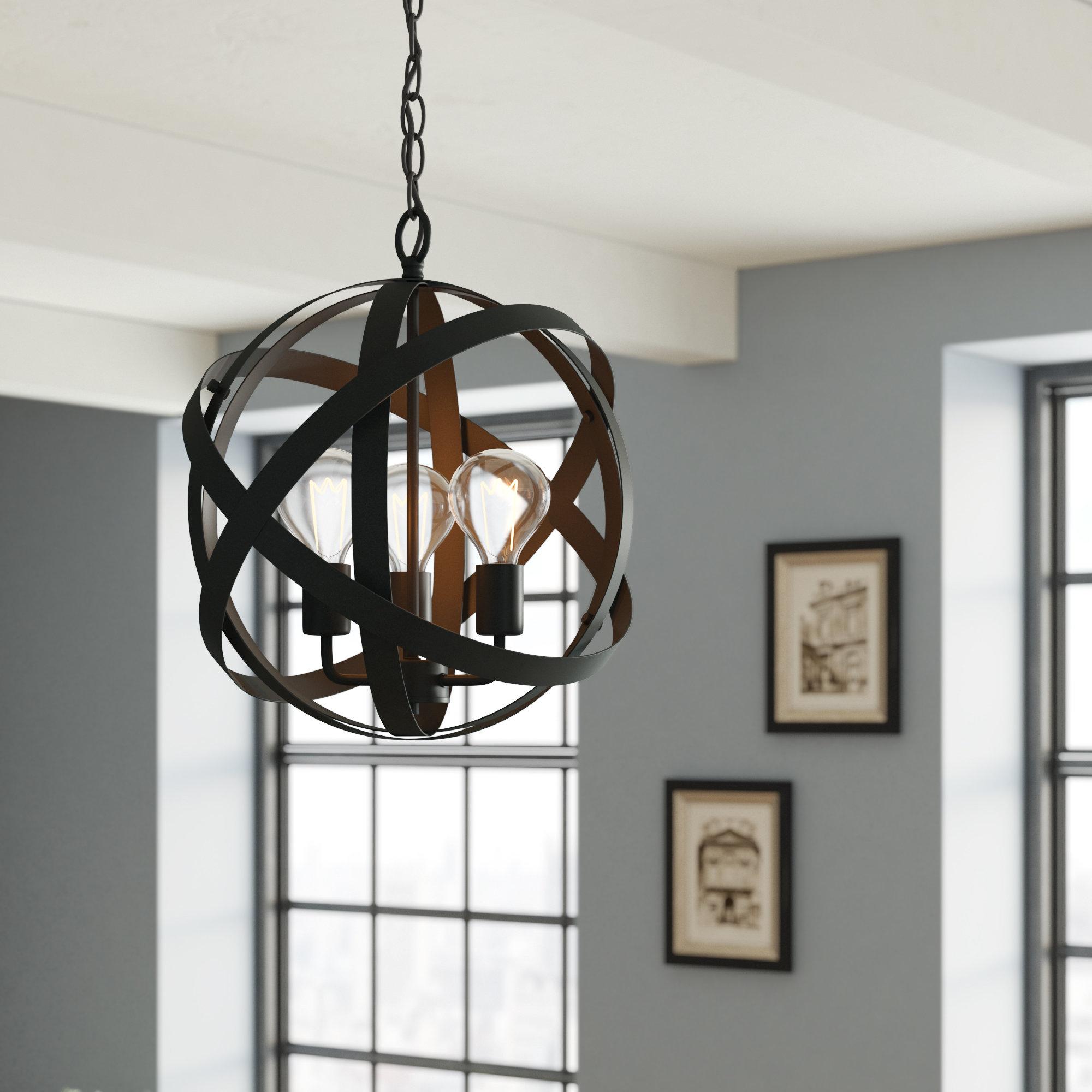 Annuziata 3 Light Unique/statement Chandeliers Inside Preferred Framlingham 3 Light Globe Chandelier (View 9 of 25)