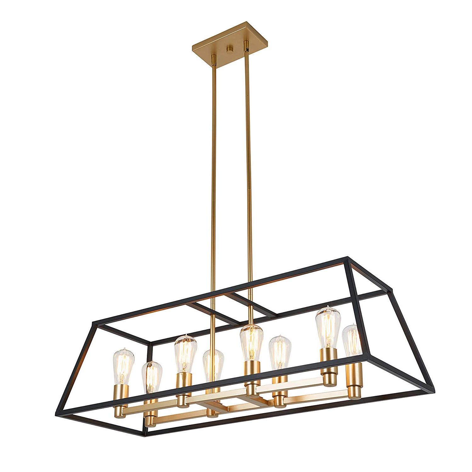 Artika Car36 On Rectangular 8 Pendant Light Fixture, Kitchen Island  Chandelier, With A Steel Black And Gold Finish, Age Brass For Widely Used Tiana 4 Light Geometric Chandeliers (View 9 of 25)