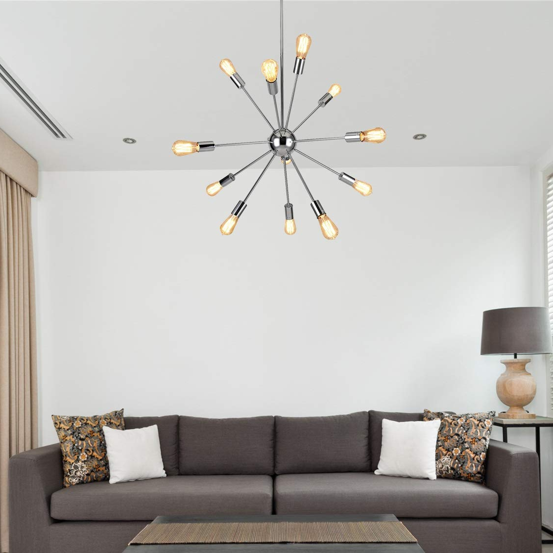 Asher 12 Light Sputnik Chandeliers Pertaining To Favorite Sputnik Chandeliers 12 Lights Modern Pendant Lighting Chrome Finished  Ceiling Light Fixture, Ul Listed (View 5 of 25)