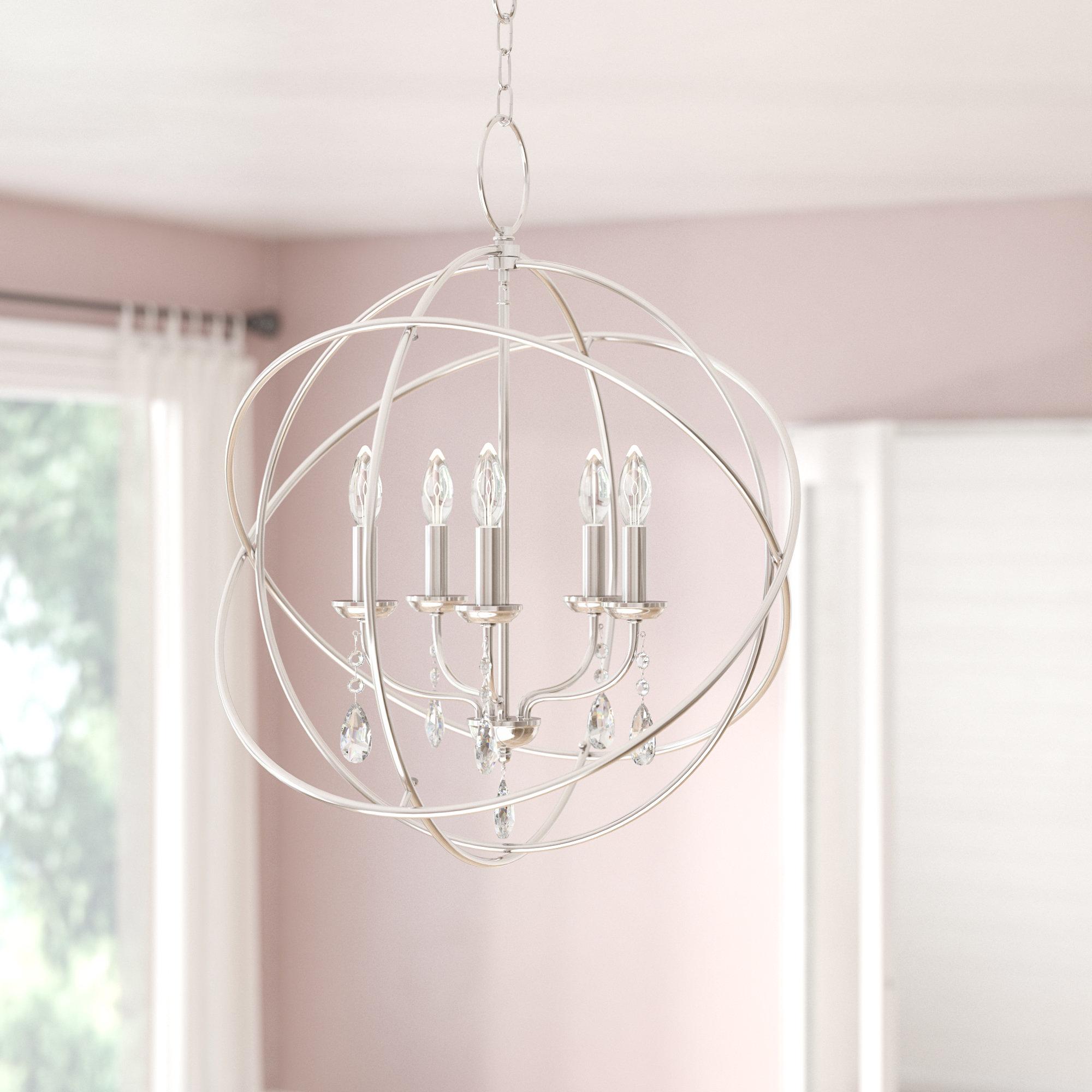 Auberta 5 Light Globe Chandelier With Popular Verlene Foyer 5 Light Globe Chandeliers (View 1 of 25)