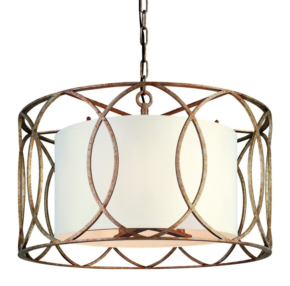 Balducci 5-Light Pendants with Best and Newest Troy Lighting Sausalito 5-Light Chandelier - Silver Gold Finish With  Hardback Linen Shade