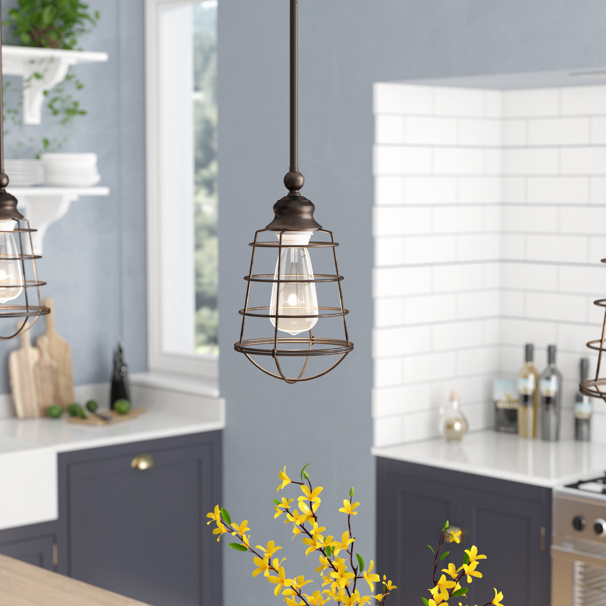 Barrons 1-Light Single Cylinder Pendants within Current Leda 1-Light Geometric Pendant