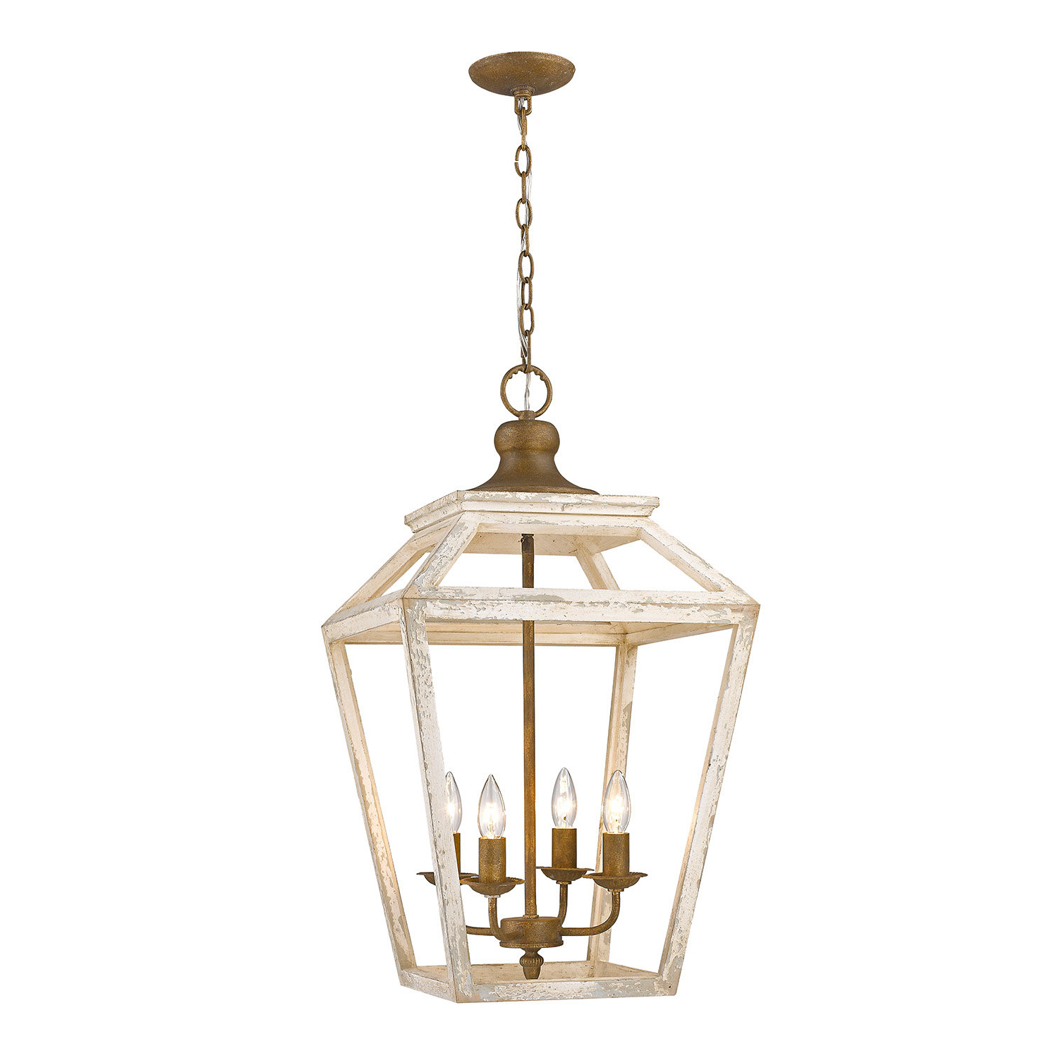 Baugher 4 Light Lantern Geometric Pendant With Current Finnick 4 Light Foyer Pendants (View 9 of 25)