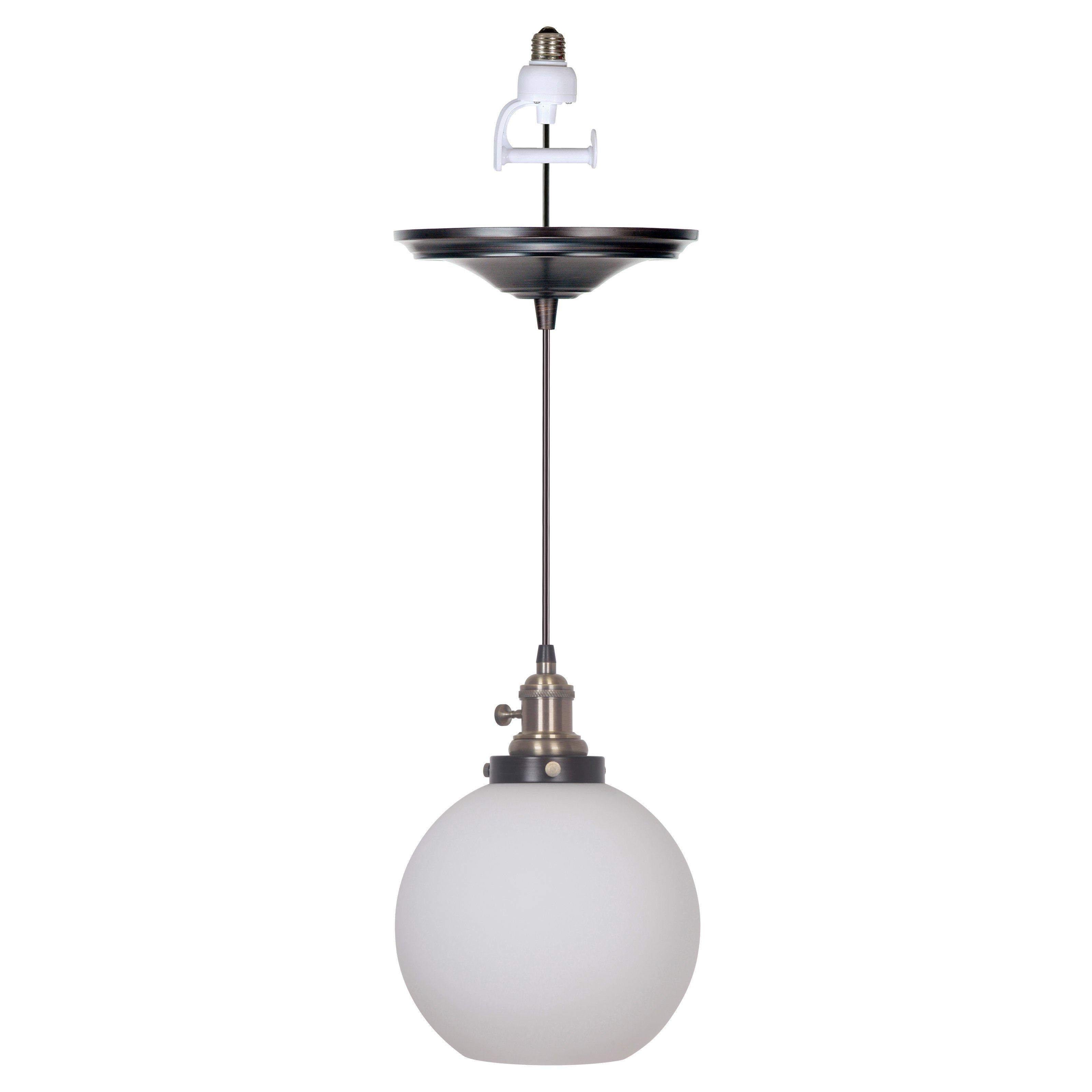 Bautista 1 Light Single Globe Pendants Pertaining To Famous Worth Home Products Instant Screw In Pendant Light With (View 11 of 25)