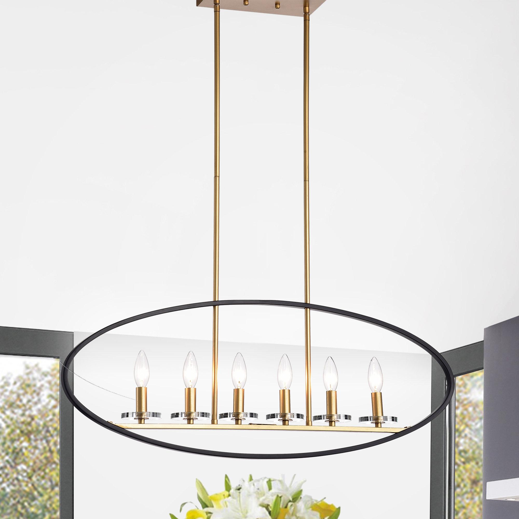 Bautista 6-Light Kitchen Island Bulb Pendants with Favorite Brillion 6-Light Kitchen Island Linear Pendant
