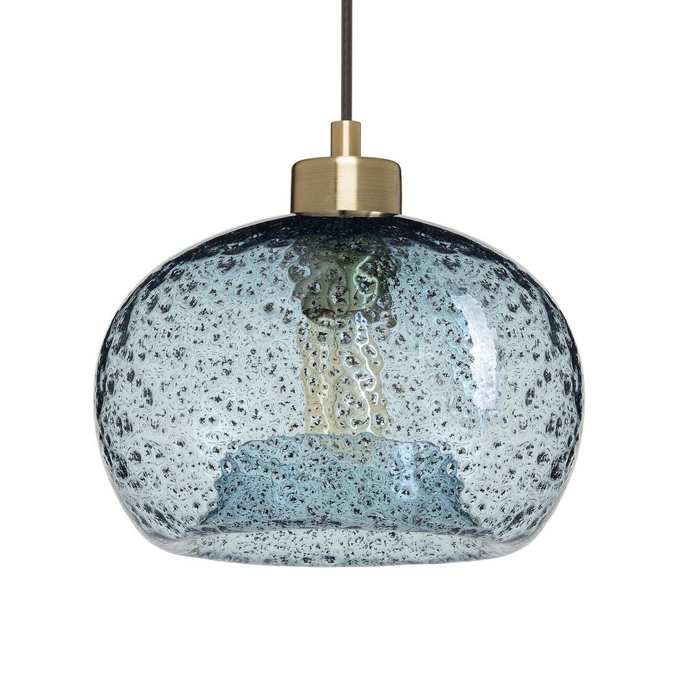 Bautista 6-Light Kitchen Island Bulb Pendants within Well-known Casamotion 9 In. W X 6 In. H 1-Light Brass Rustic Seeded Hand Blown Glass  Pendant Light With Blue Glass Shade