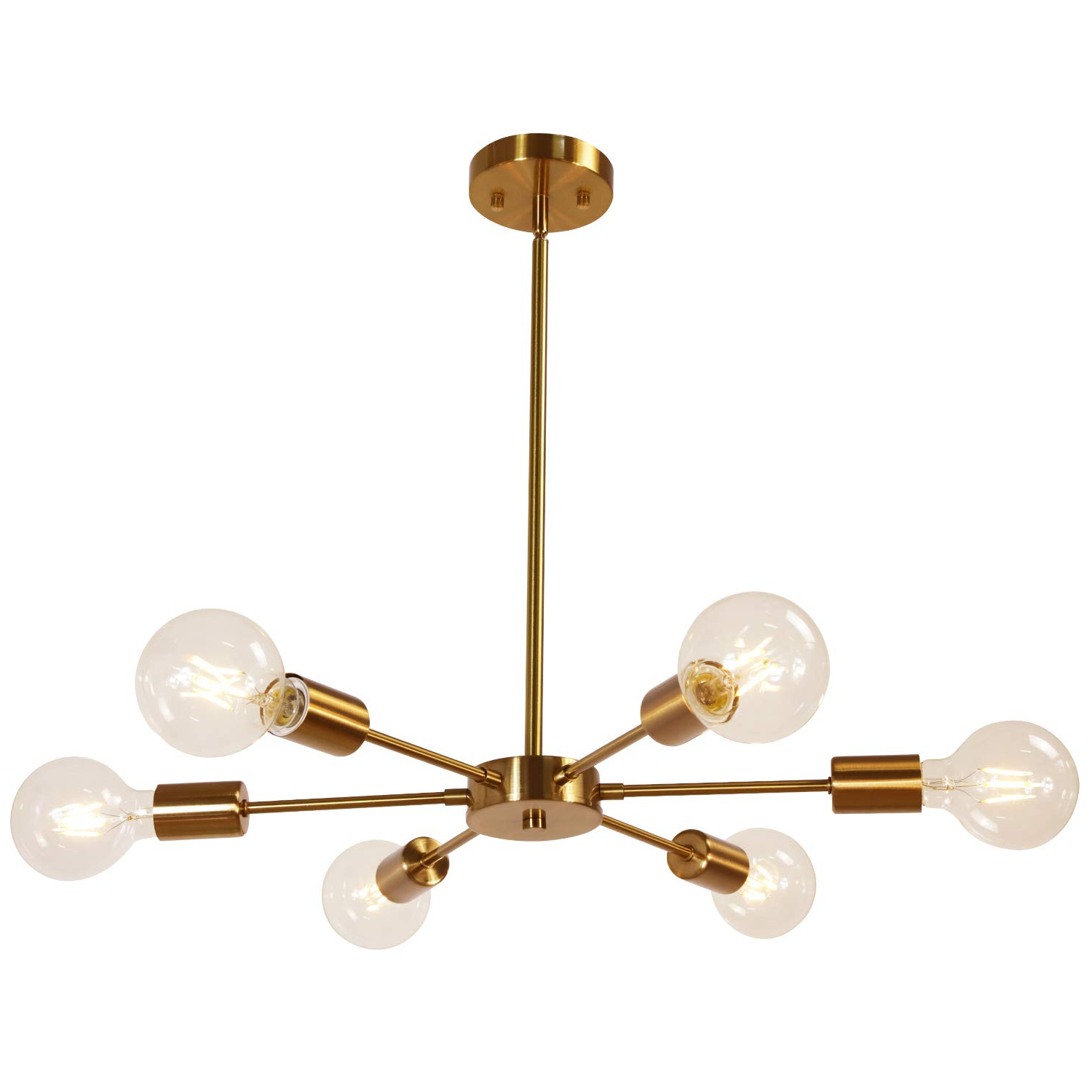Bautista 6-Light Sputnik Chandeliers throughout Most Popular Melucee Modern Sputnik Chandelier 6 Lights Brass Chandelier Semi Flush  Mount Ceiling Light Mid Century Pendant Light For Bedroom Foyer Dining Room