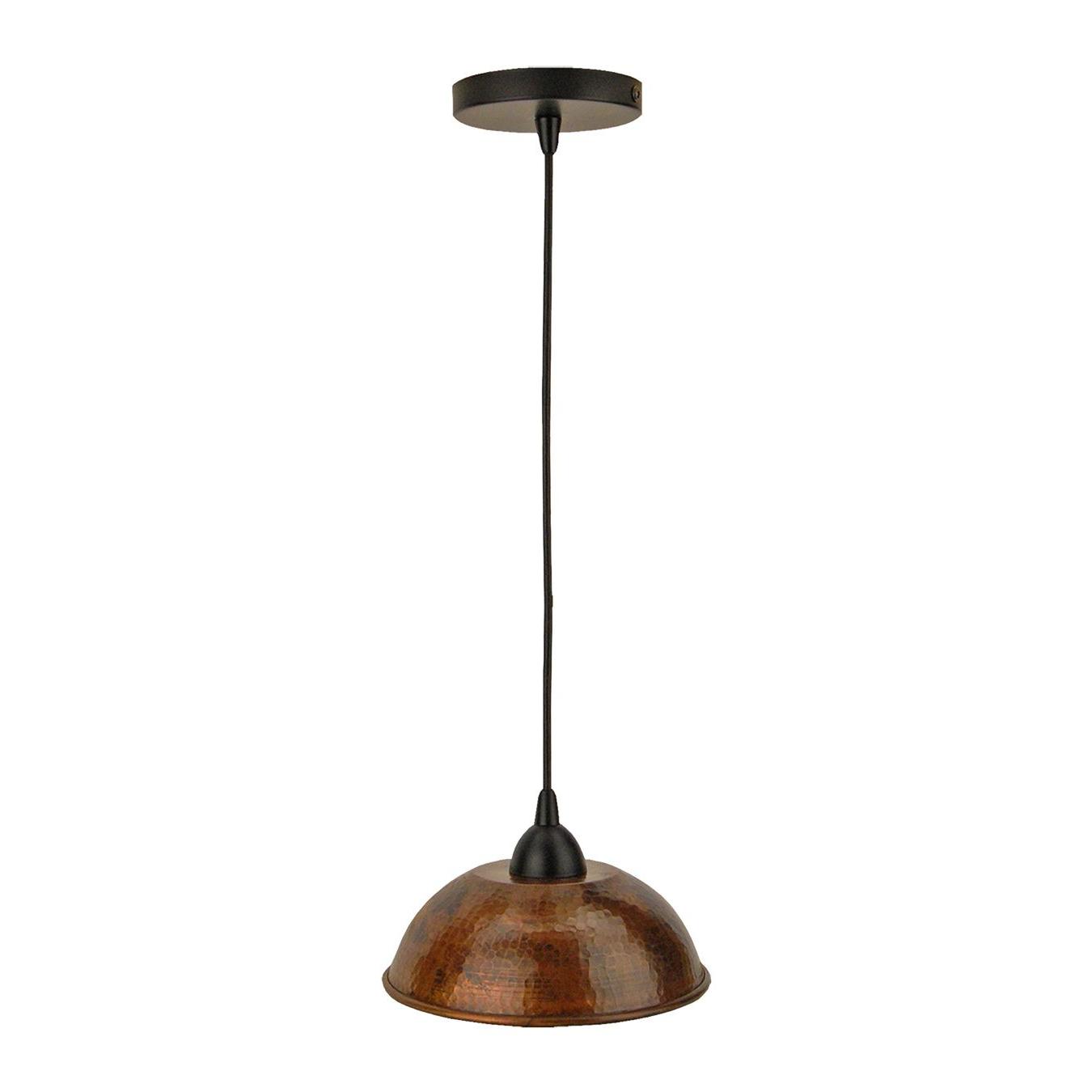 Bellamira 1-Light Drum Pendants intended for Recent Premier Copper Products 10.5-In Copper Dome Pendant Light
