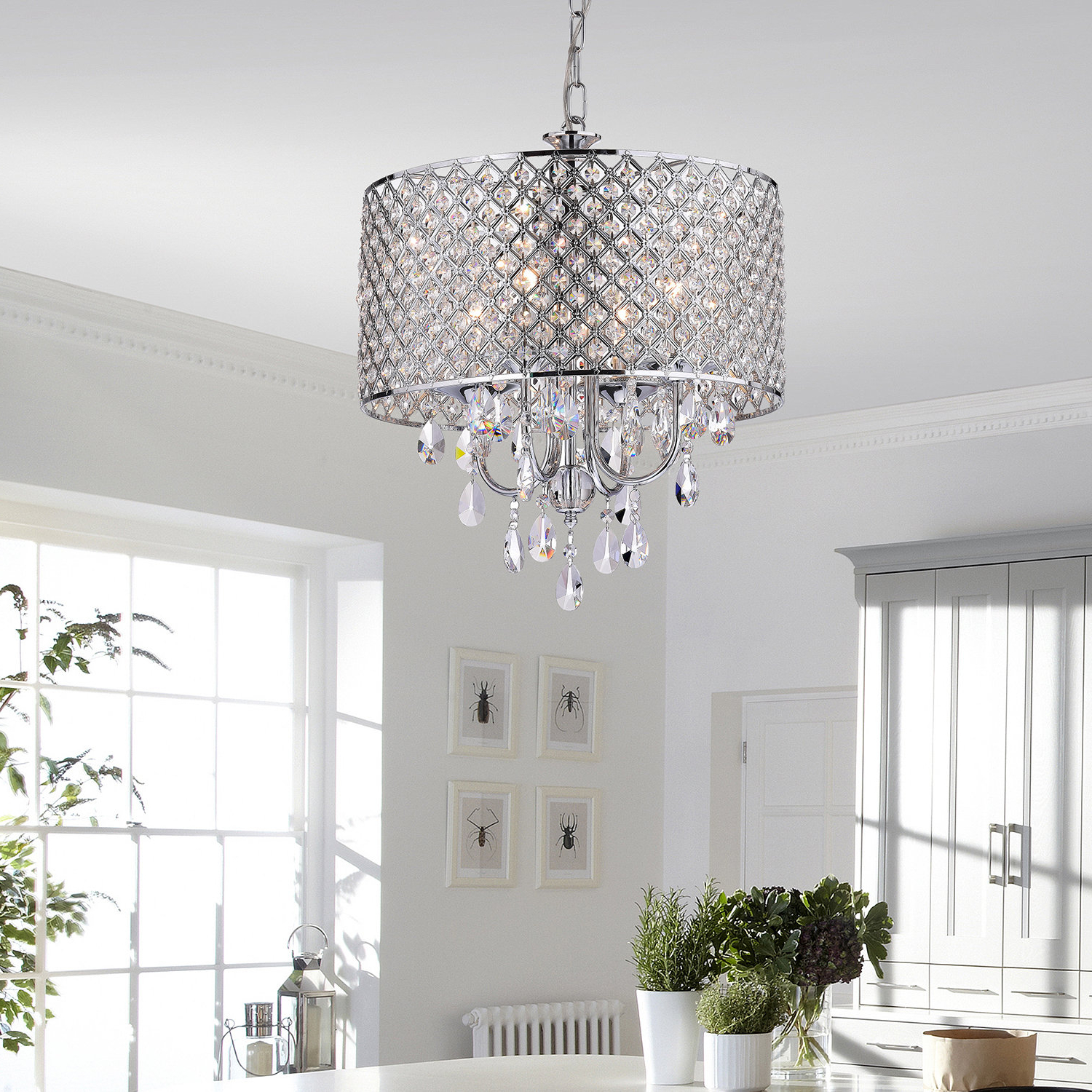Benedetto 5-Light Crystal Chandeliers throughout Recent Von 4-Light Crystal Chandelier