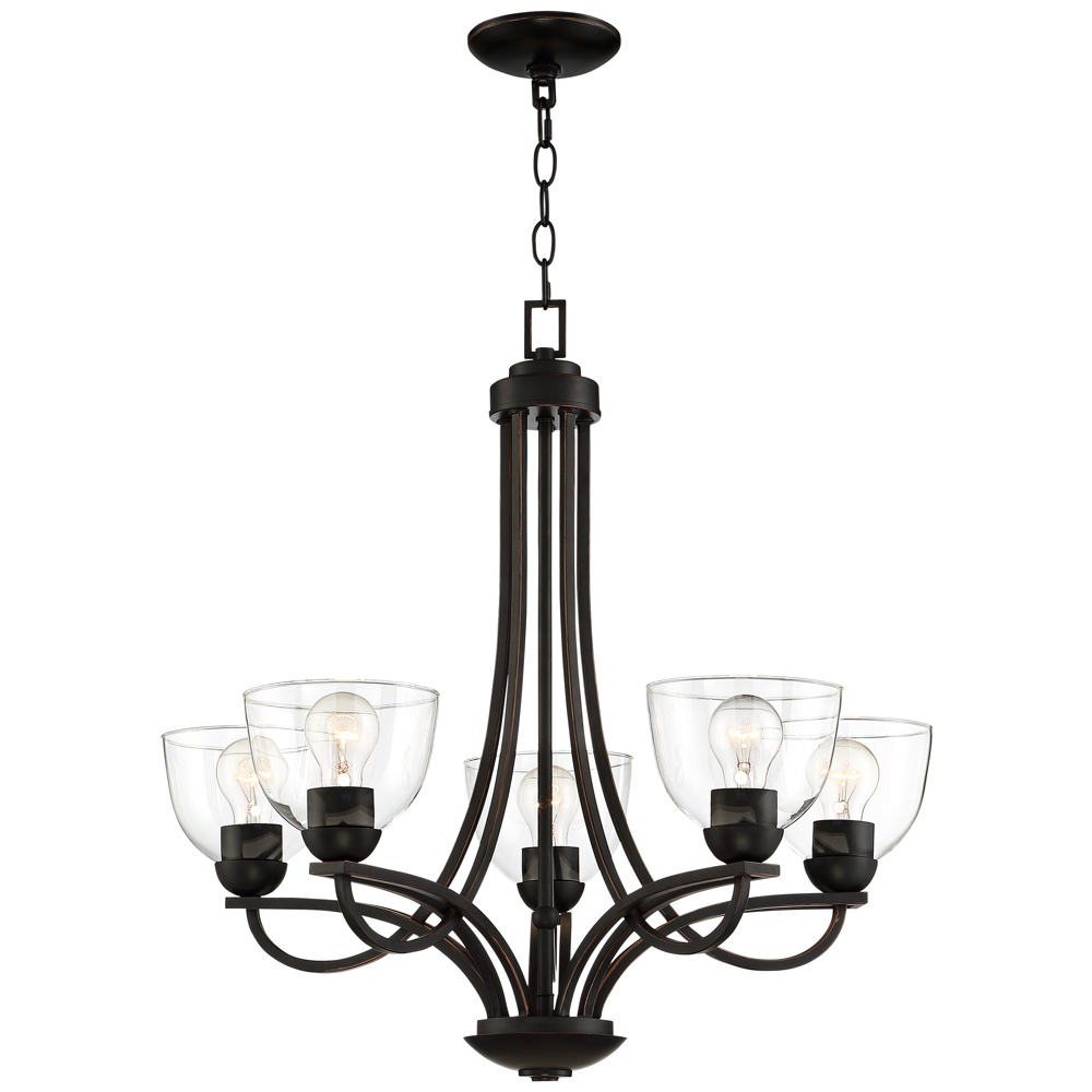 """Bennington 26"""" Wide Bronze 5 Light Chandelier – Style Intended For 2019 Gaines 5 Light Shaded Chandeliers (View 2 of 25)"""