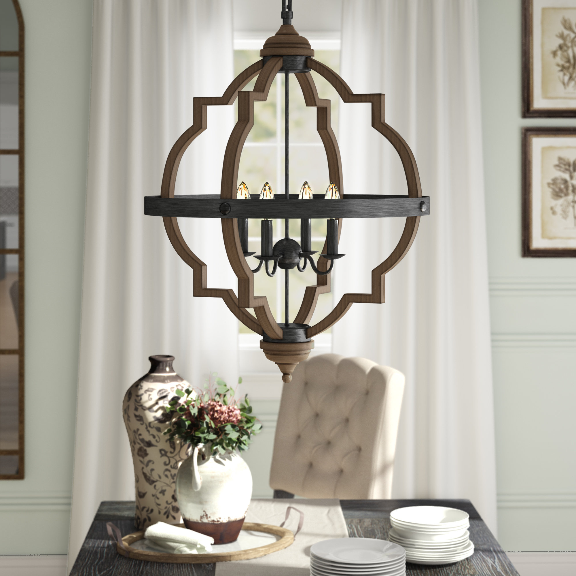 Bennington 4 Light Candle Style Chandelier Pertaining To Trendy Kaycee 4 Light Geometric Chandeliers (View 13 of 25)