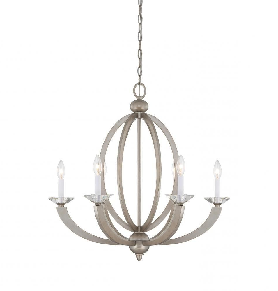 Bennington 6-Light Candle Style Chandeliers in Latest Savoy House 1-1551-6-307 - Forum 6 Light Chandelier, Silver