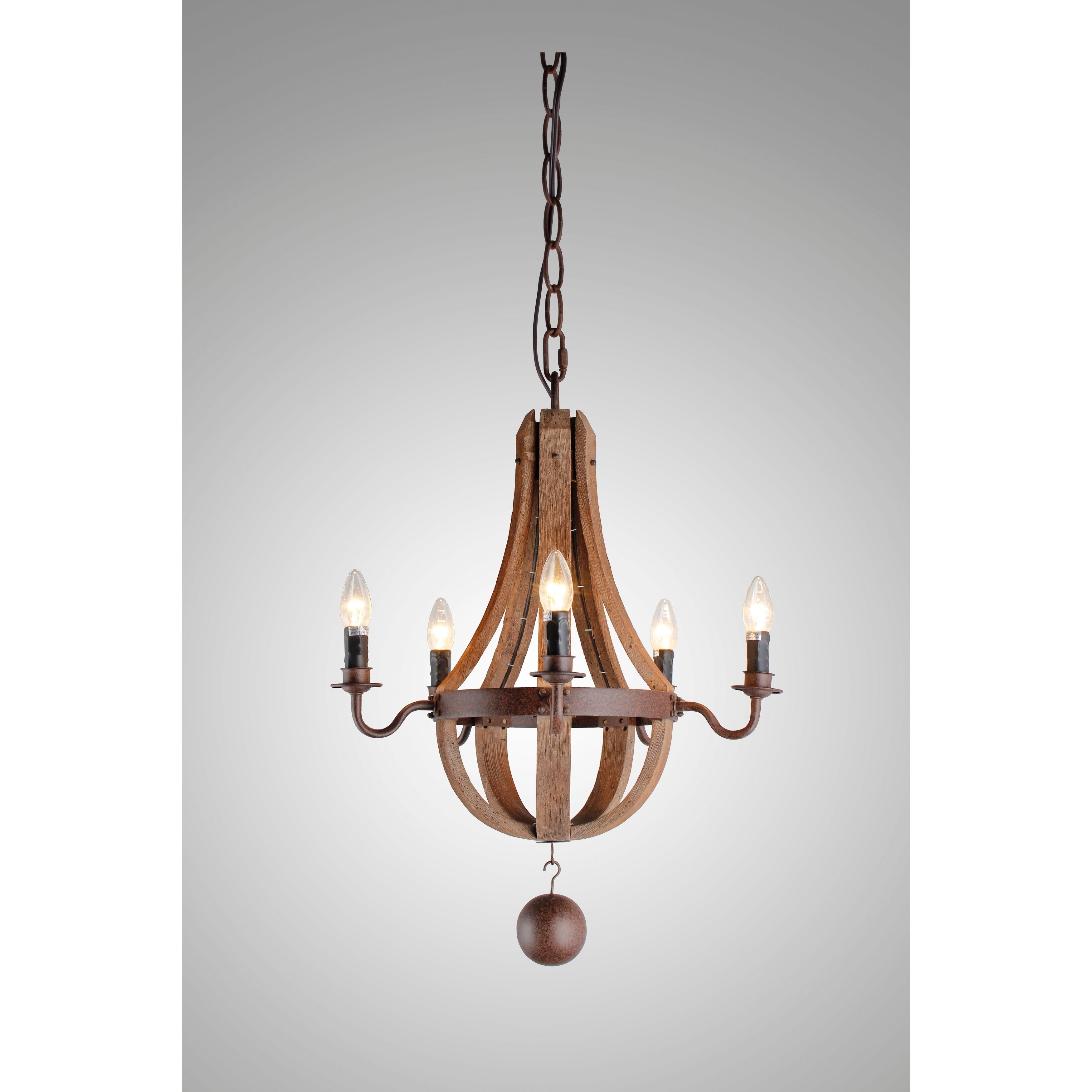 Berger 5-Light Candle Style Chandeliers with Recent Y-Decor 5 Light Candle-Style Chandelier In Iron Frame & Rustic Finish