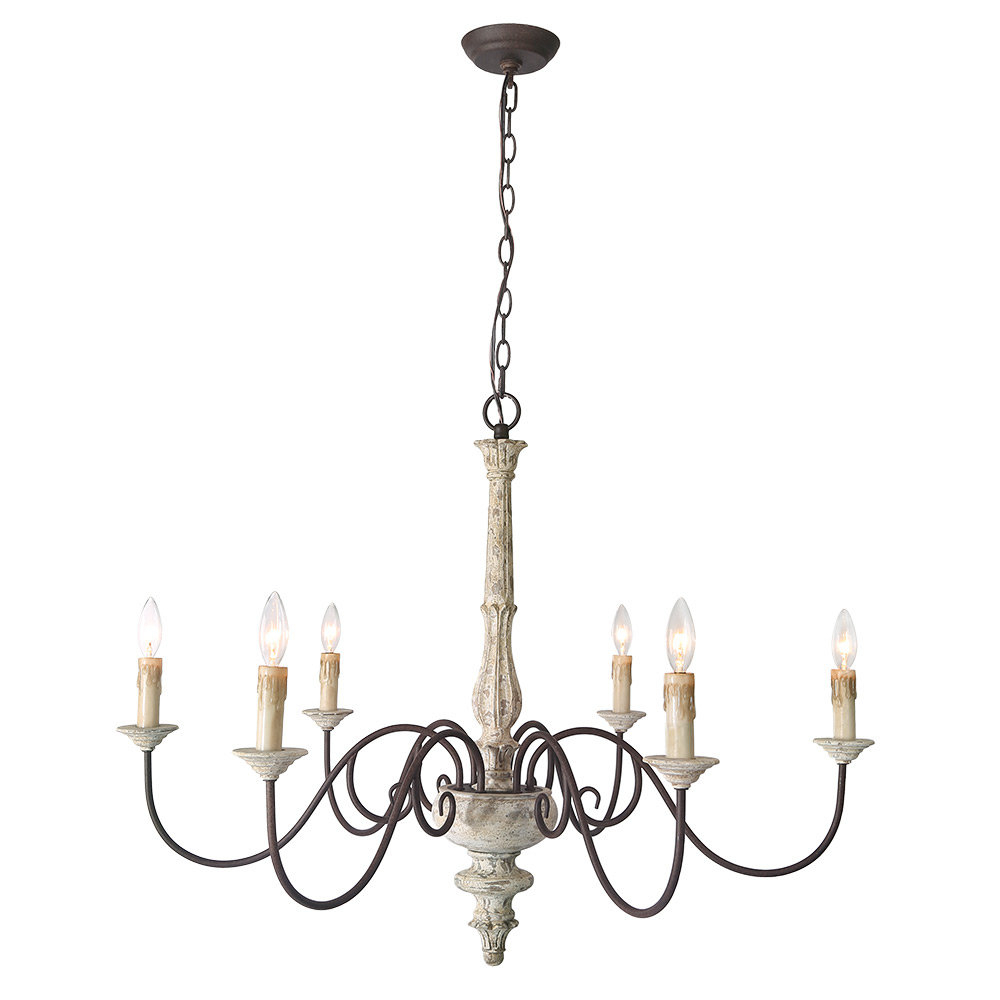 Berger 5-Light Candle Style Chandeliers with regard to 2019 Leib Elegance French Country 6-Light Candle Style Chandelier