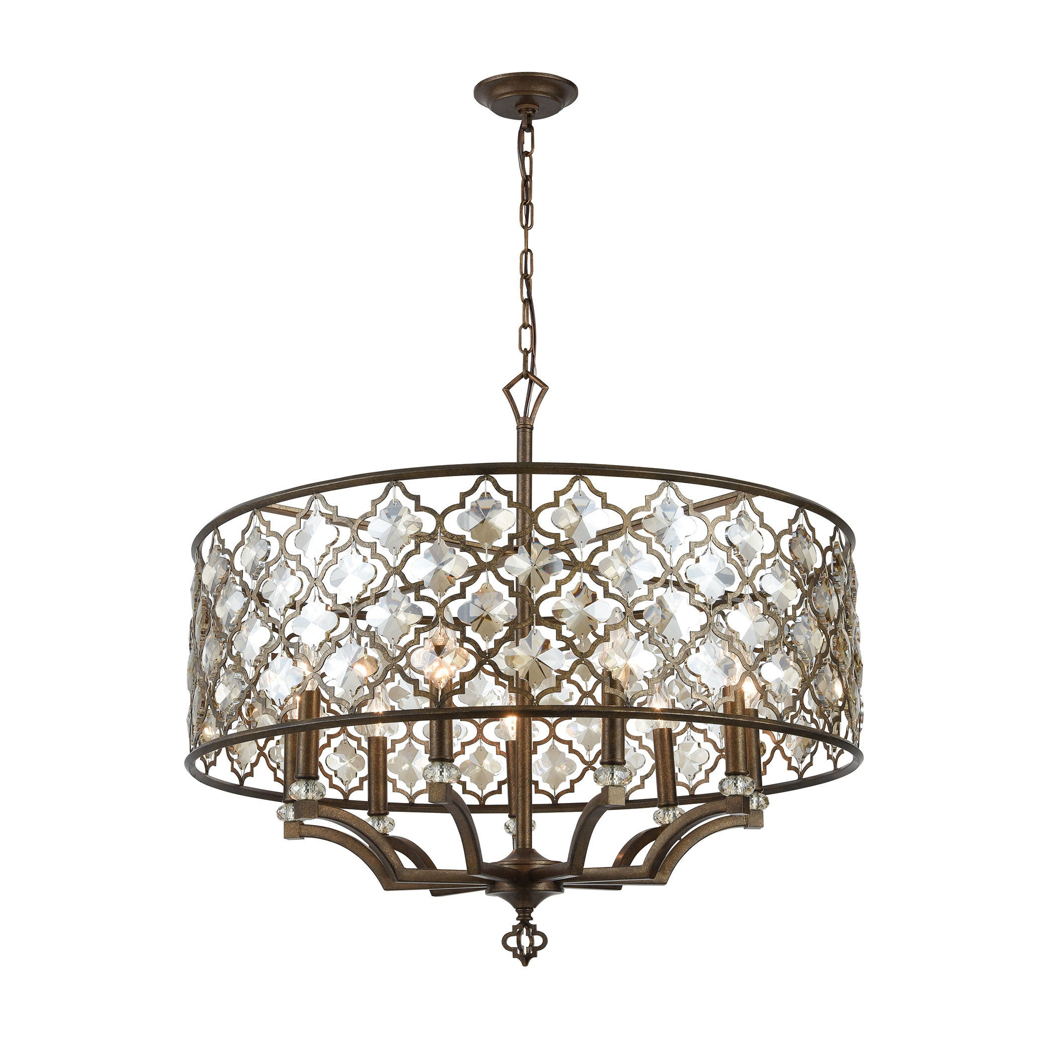 Best and Newest Armande 4-Light Lantern Drum Pendants with Armand 9-Light Pendant, Weathered Bronze