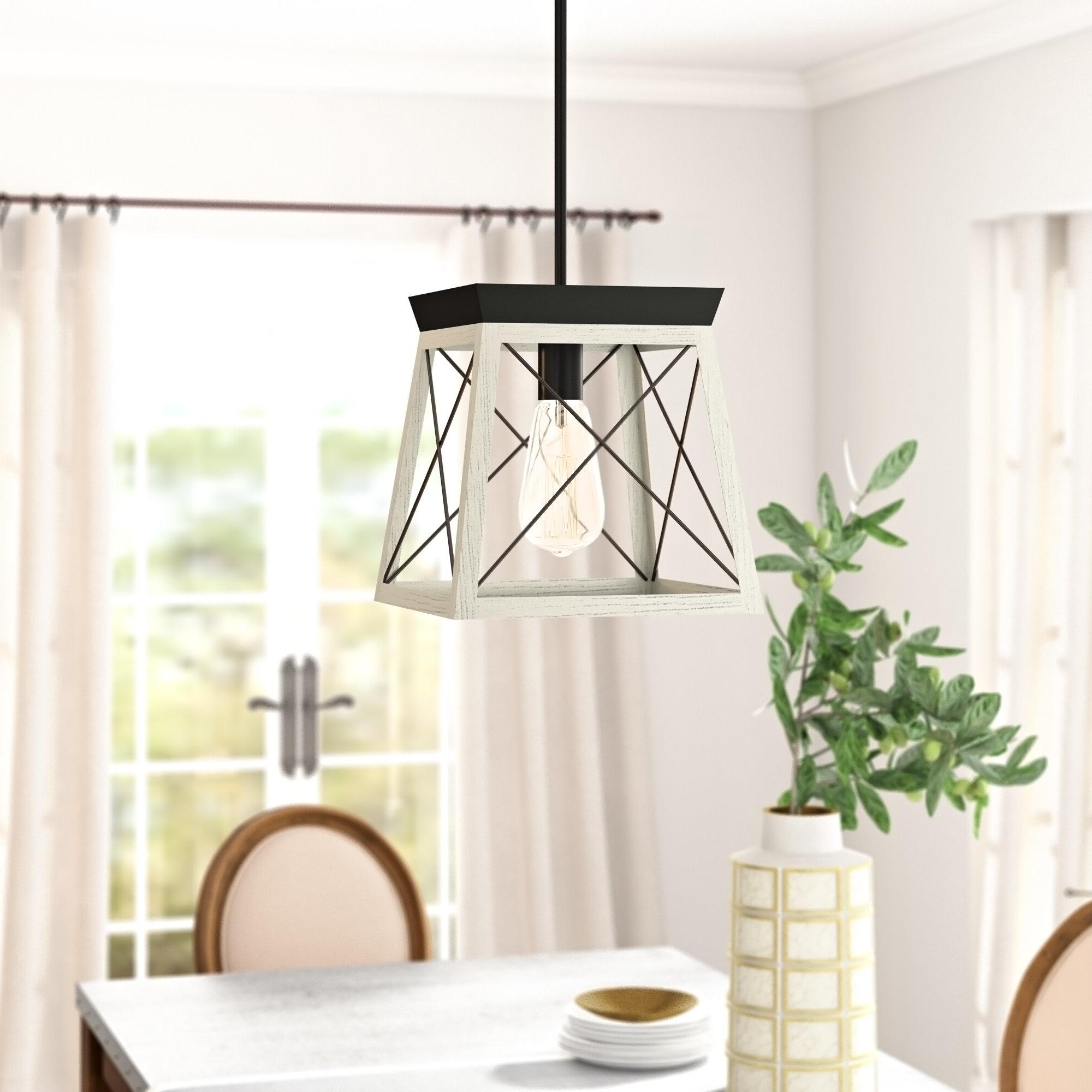 Best And Newest Delon 1 Light Lantern Geometric Pendant Regarding Delon 1 Light Lantern Geometric Pendants (View 2 of 25)