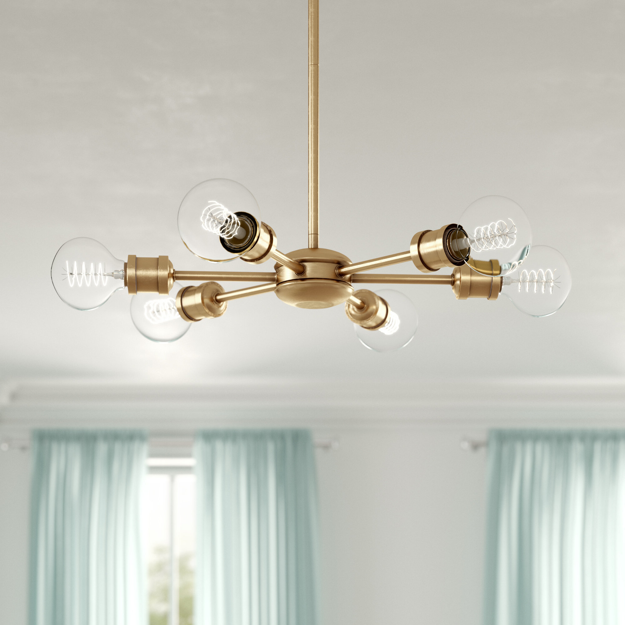 Best and Newest Everett 10-Light Sputnik Chandeliers with Bautista 6-Light Sputnik Chandelier