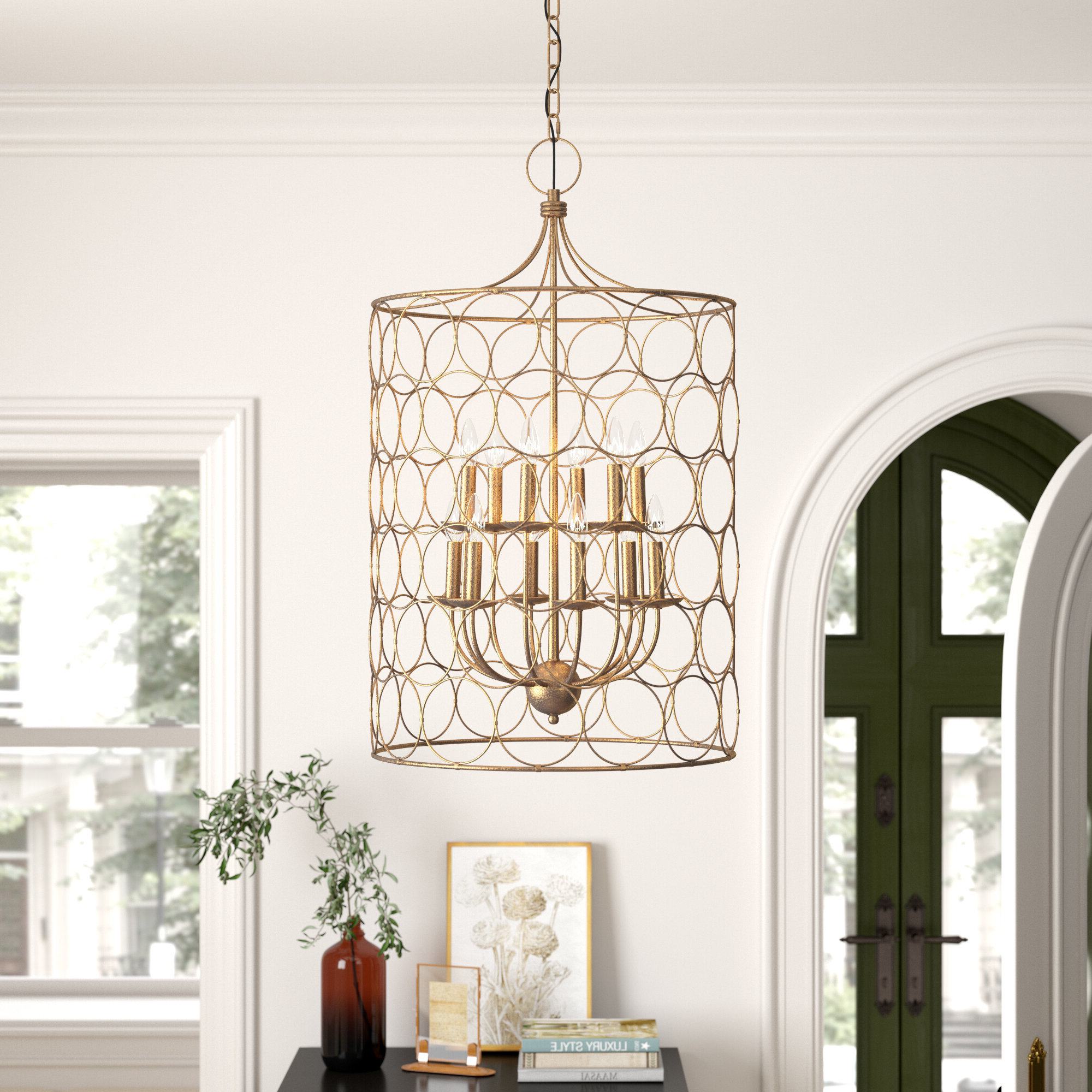 Best And Newest Flores 12 Light Lantern Cylinder Pendant Throughout Kierra 4 Light Unique / Statement Chandeliers (View 13 of 25)