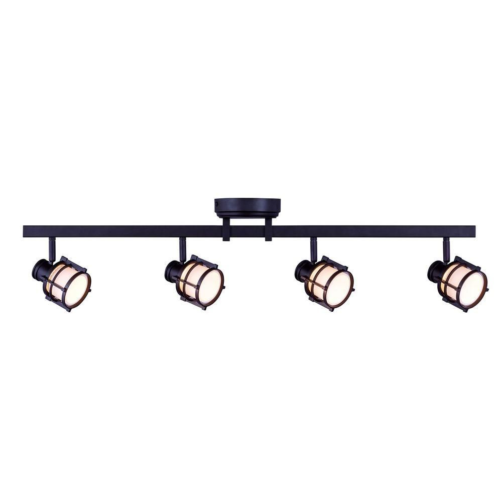 Best and Newest Hampton Bay 4-Light Antique Bronze Directional Led Track intended for Schutt 4-Light Kitchen Island Pendants