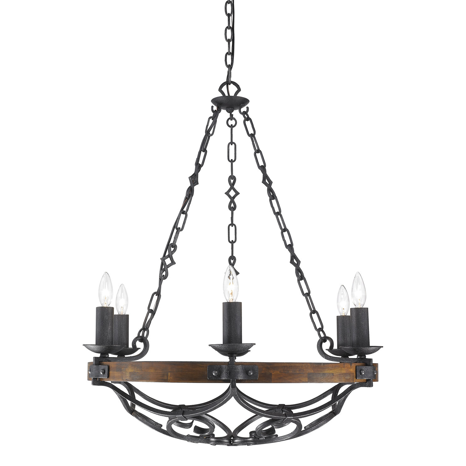 Best and Newest Janette 5-Light Wagon Wheel Chandeliers within Bacchus 6-Light Wagon Wheel Chandelier