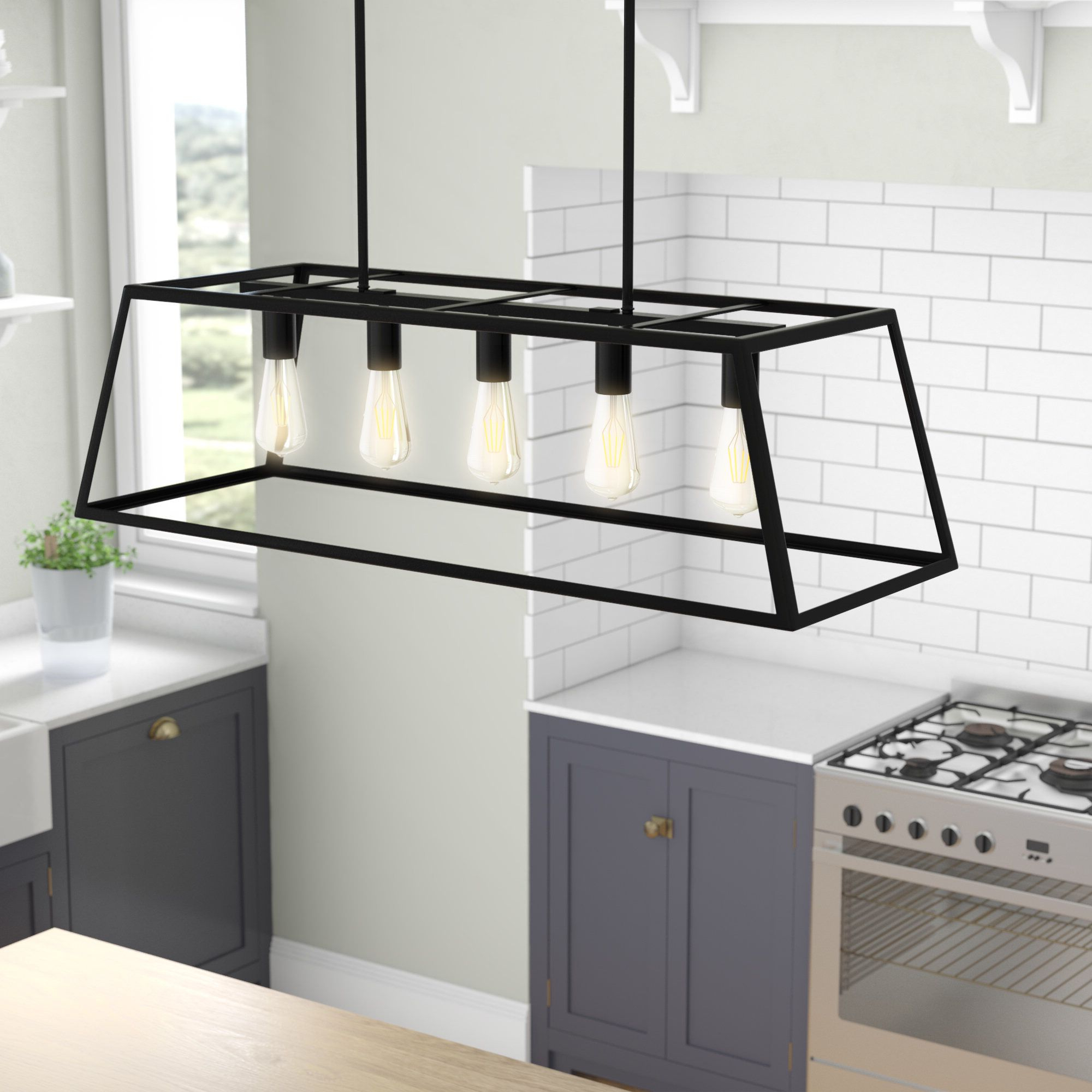 Best And Newest Jefferson 4 Light Kitchen Island Linear Pendants Regarding Wicklund 5 Light Kitchen Island Pendant (View 1 of 25)