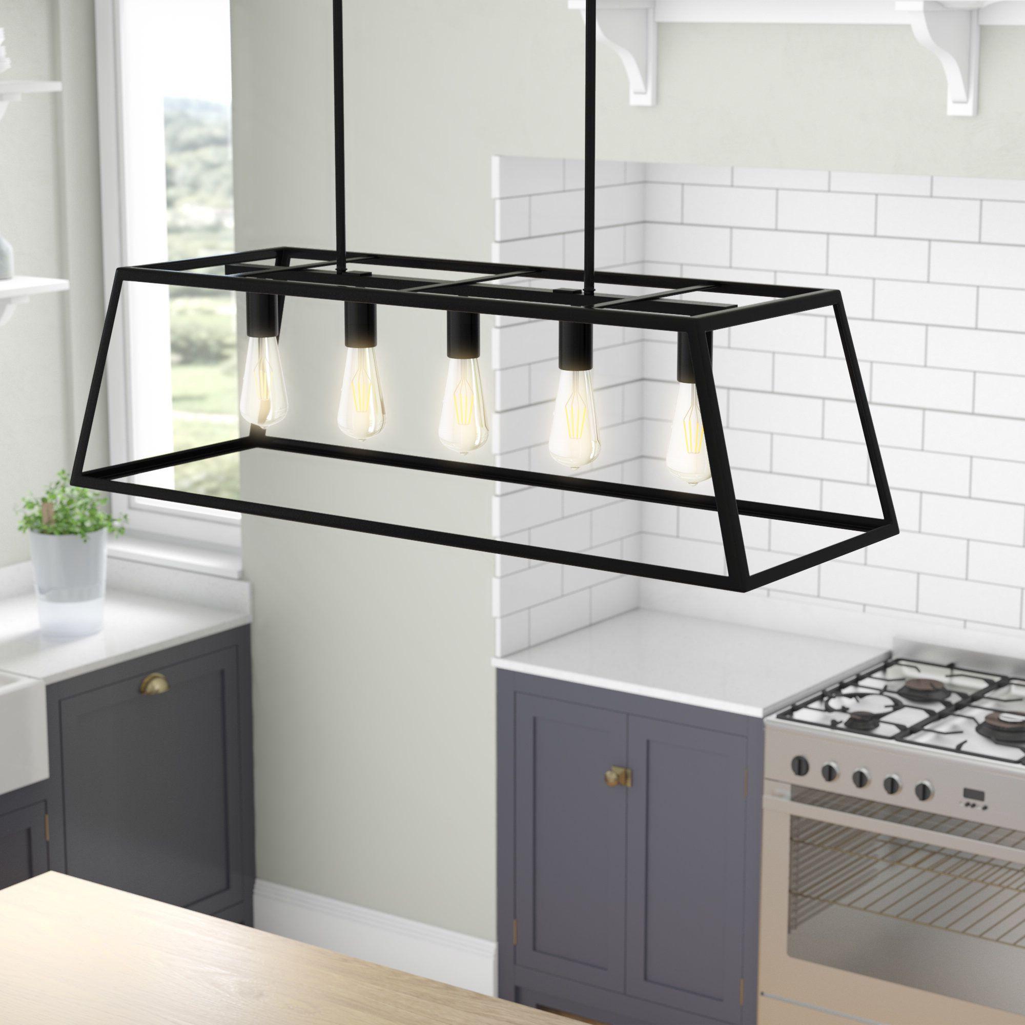 Best and Newest Jefferson 4-Light Kitchen Island Linear Pendants regarding Wicklund 5-Light Kitchen Island Pendant