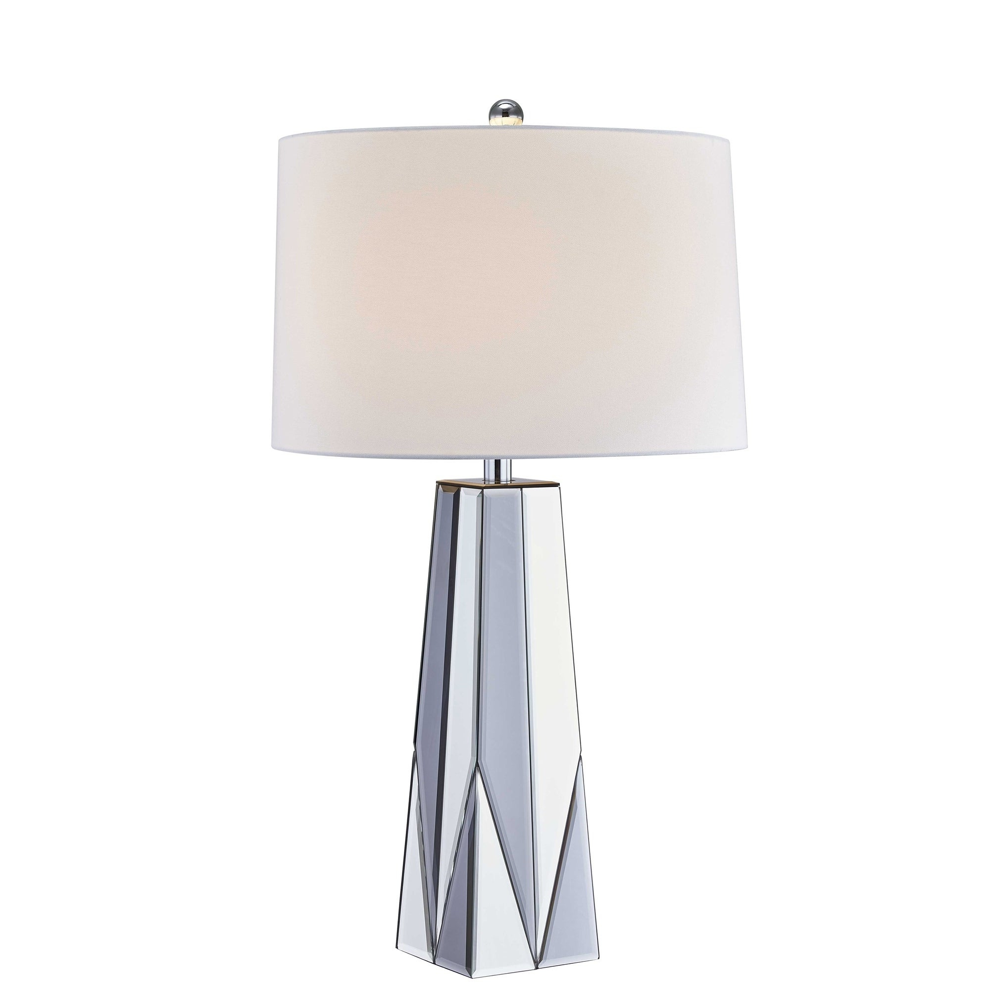 """Best And Newest Oriana 4 Light Single Geometric Chandeliers With Glass Tapered Mirror Table Lamp, Silver, 32"""" (View 6 of 25)"""