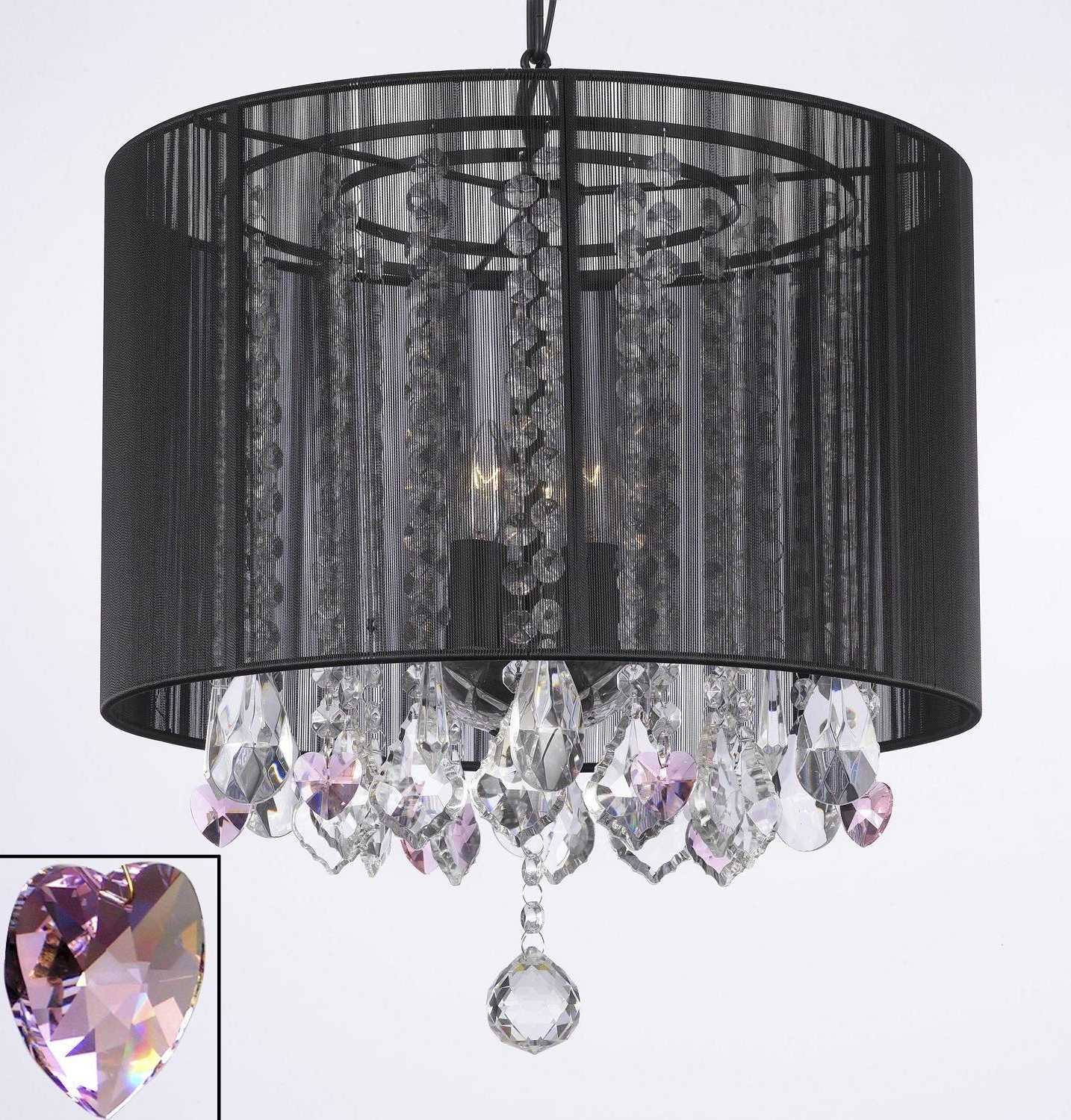 Best and Newest Sinead 4-Light Chandeliers pertaining to Crystal Chandelier With Large Black Shade & Pink Crystal