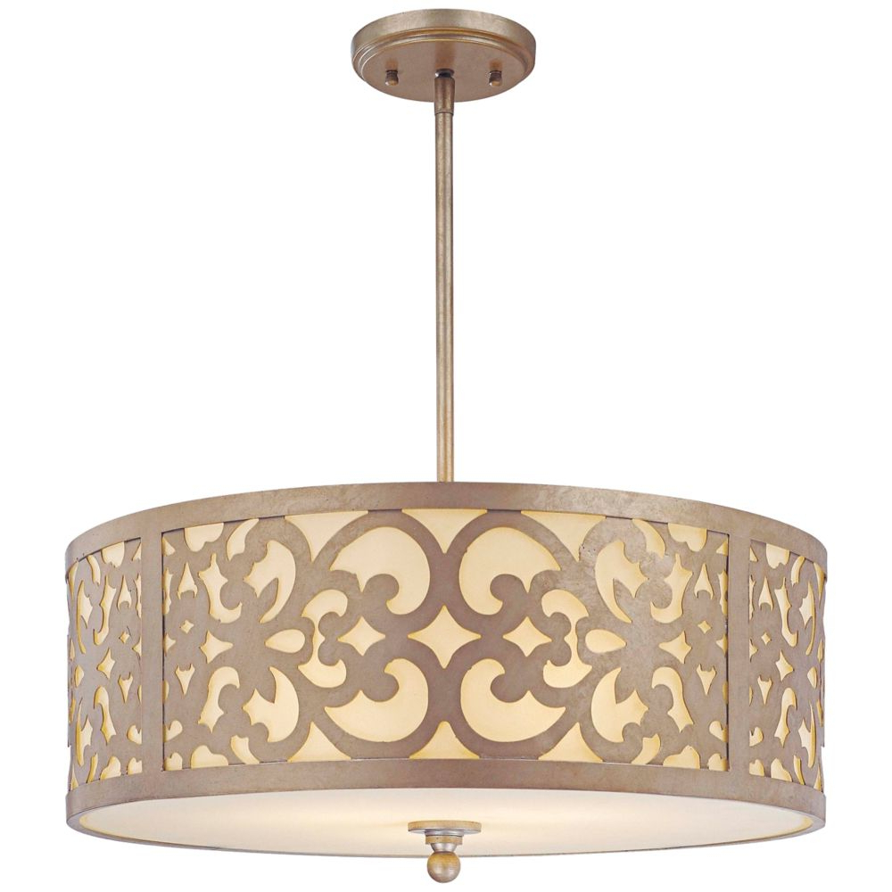 """Best and Newest Tadwick 3-Light Single Drum Chandeliers with Nanti Collection Silver 20"""" Wide Pendant Chandelier - Style"""
