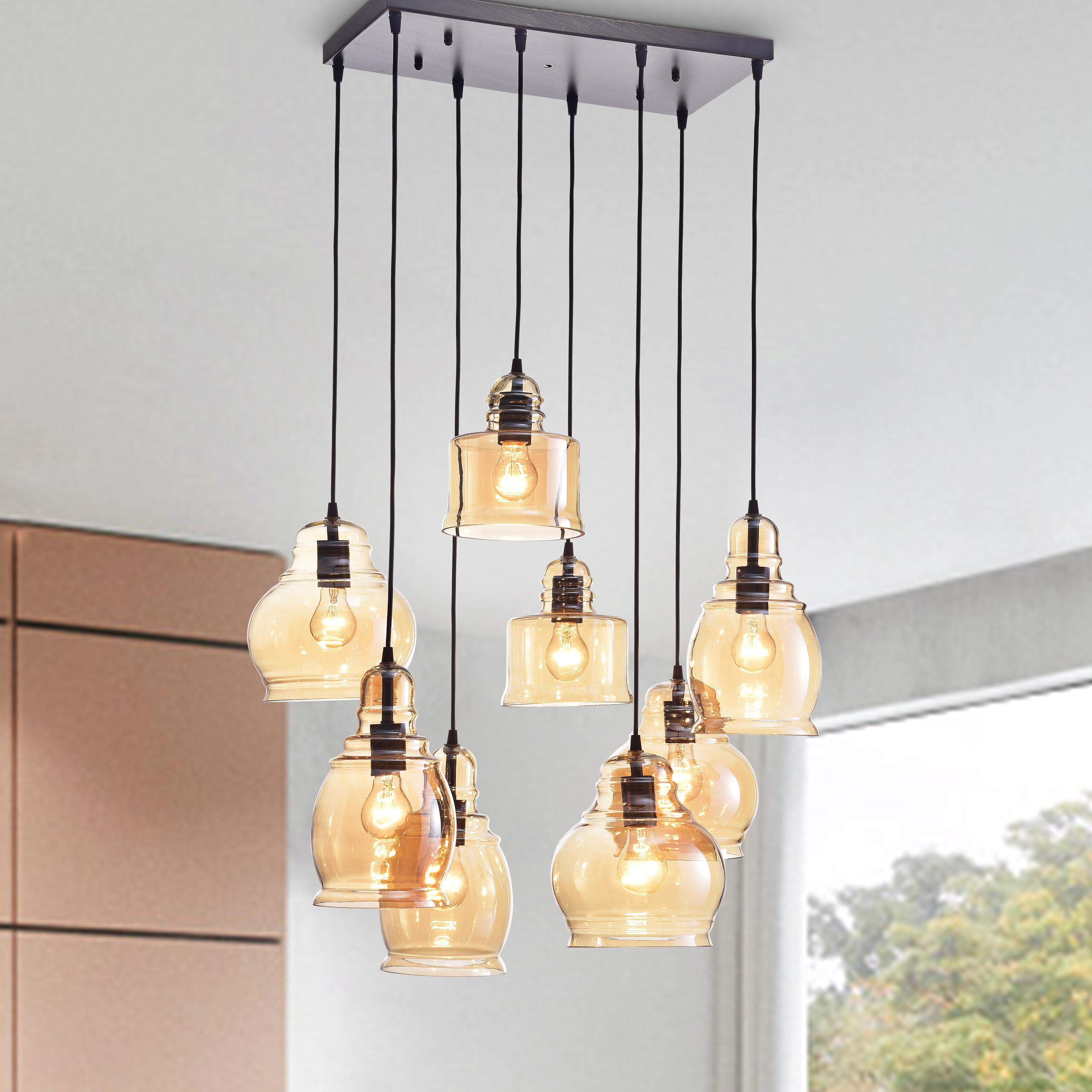 Best and Newest Vernice 3-Light Cluster Bell Pendants pertaining to Manon 8-Light Cluster Bell Pendant
