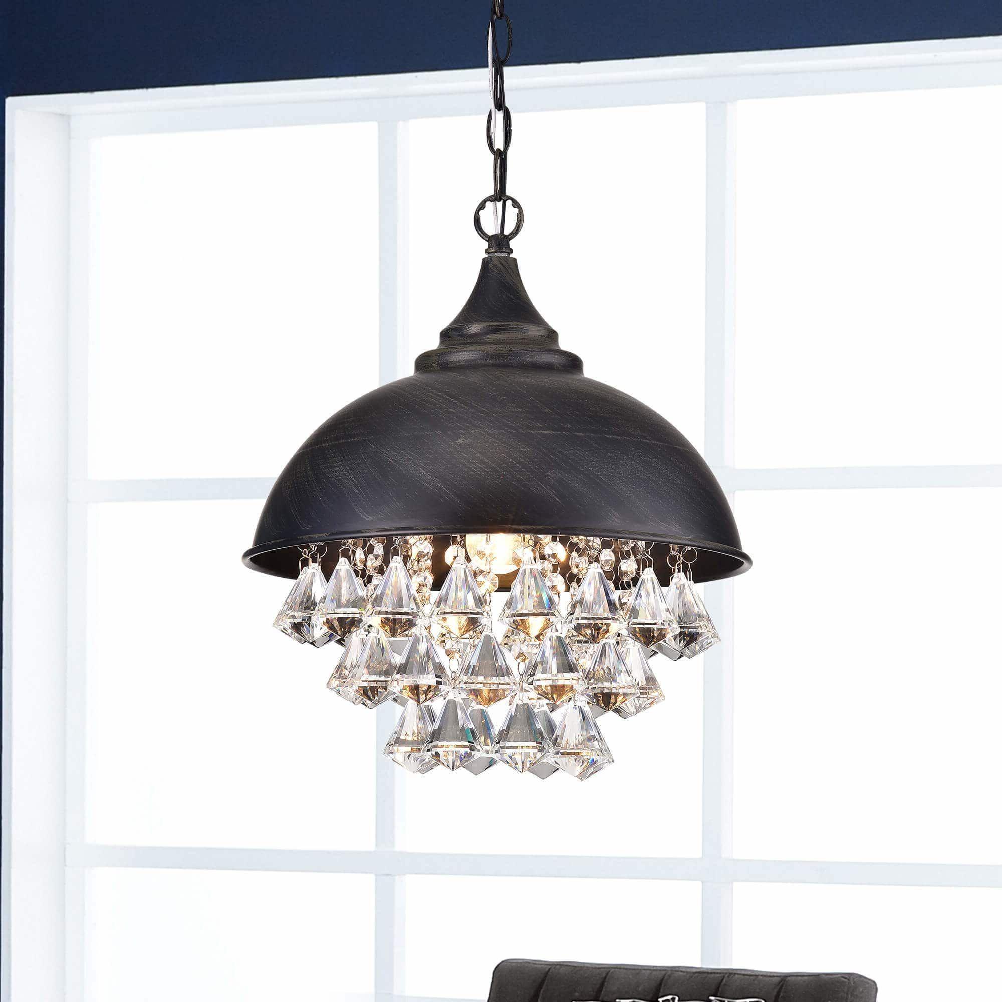 Best and Newest Visalia Antique Black Single Light Crystal Chandelier intended for Monadnock 1-Light Single Dome Pendants