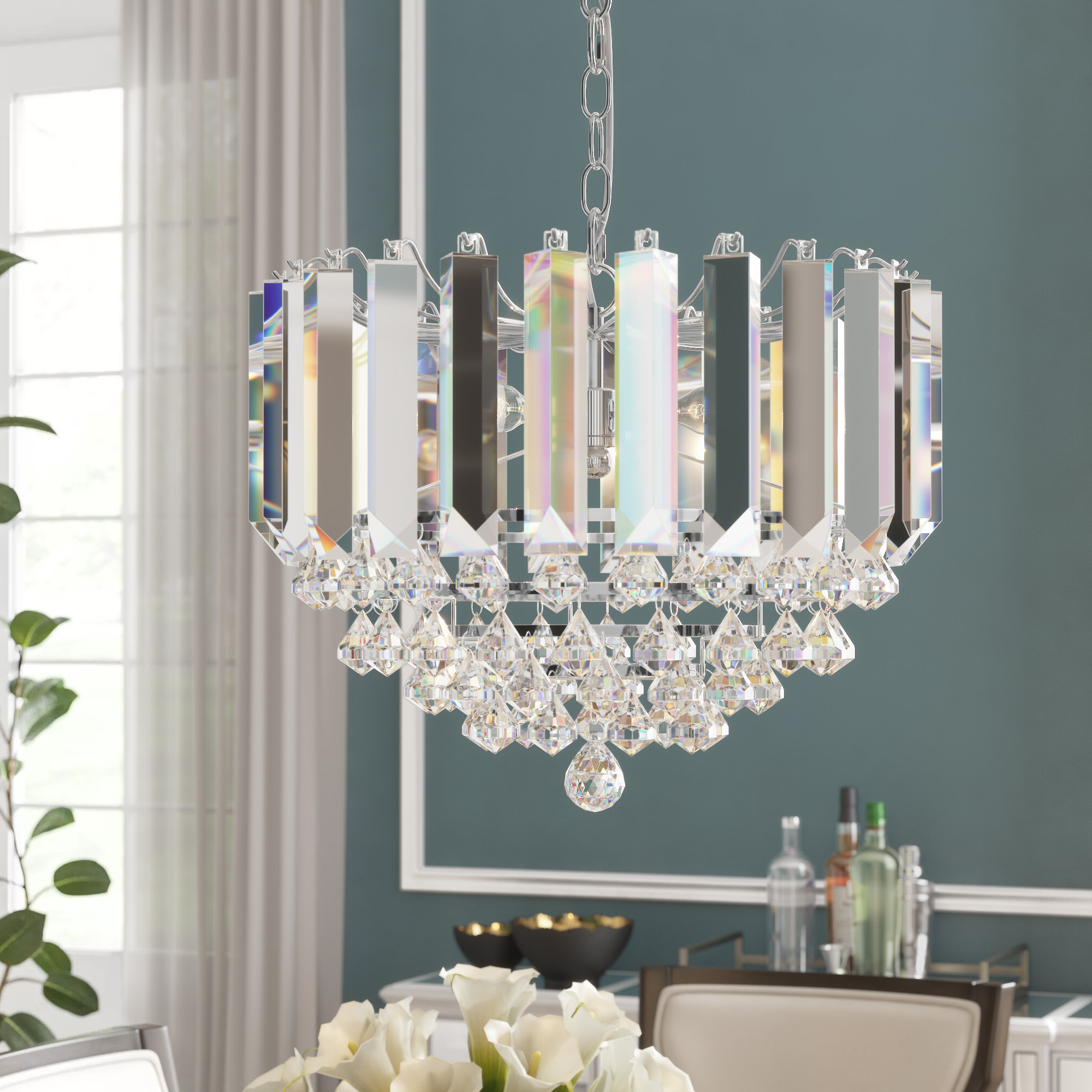 Birchley 2 Light Crystal Chandelier Intended For Favorite Benedetto 5 Light Crystal Chandeliers (View 24 of 25)