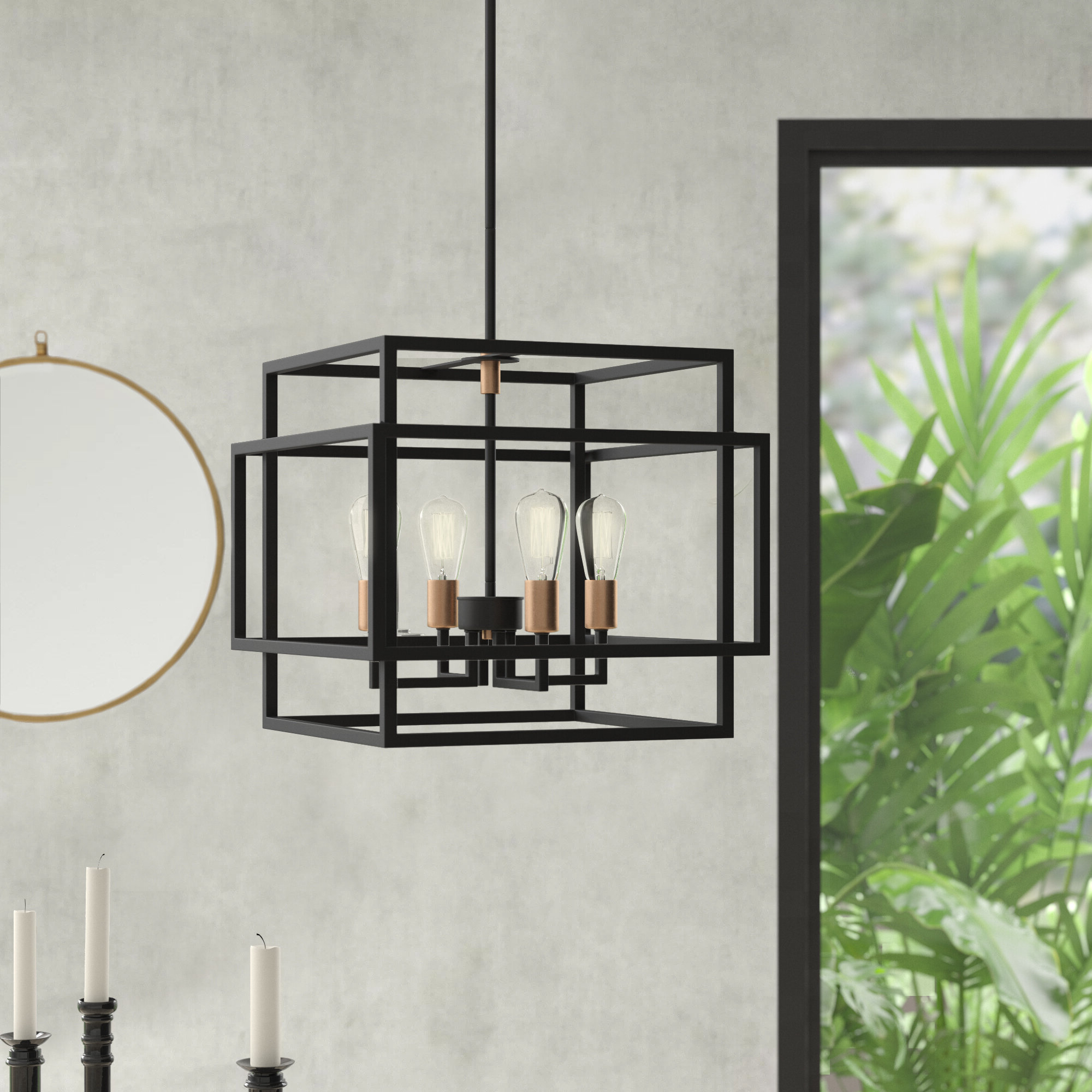 Black Square & Rectangular Chandeliers You'll Love In 2019 in Newest Hewitt 4-Light Square Chandeliers